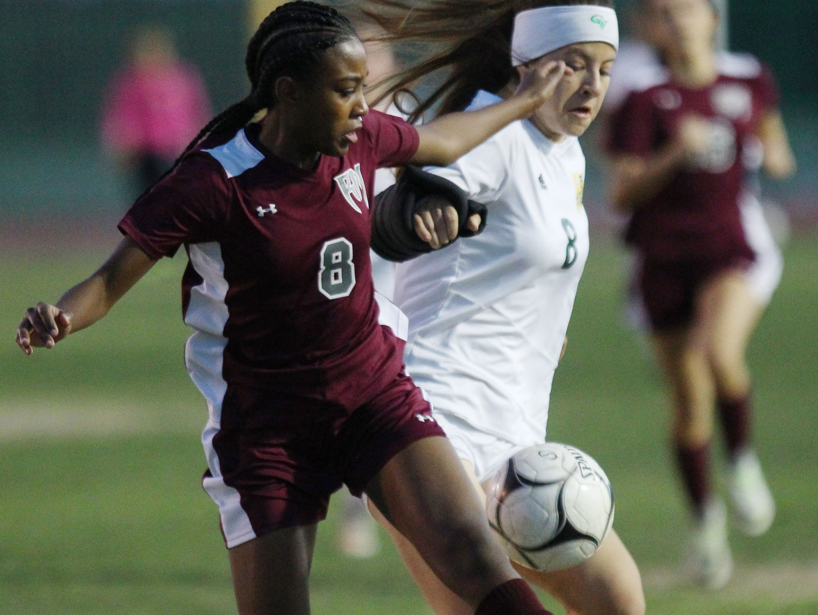 Rancho Mirage's Ailayah Carter keeps a close defense on Coachella Valley High School's Miranda Torres during their championship De Anza League in Thermal on February 7, 2017. Coachella won 2-0.