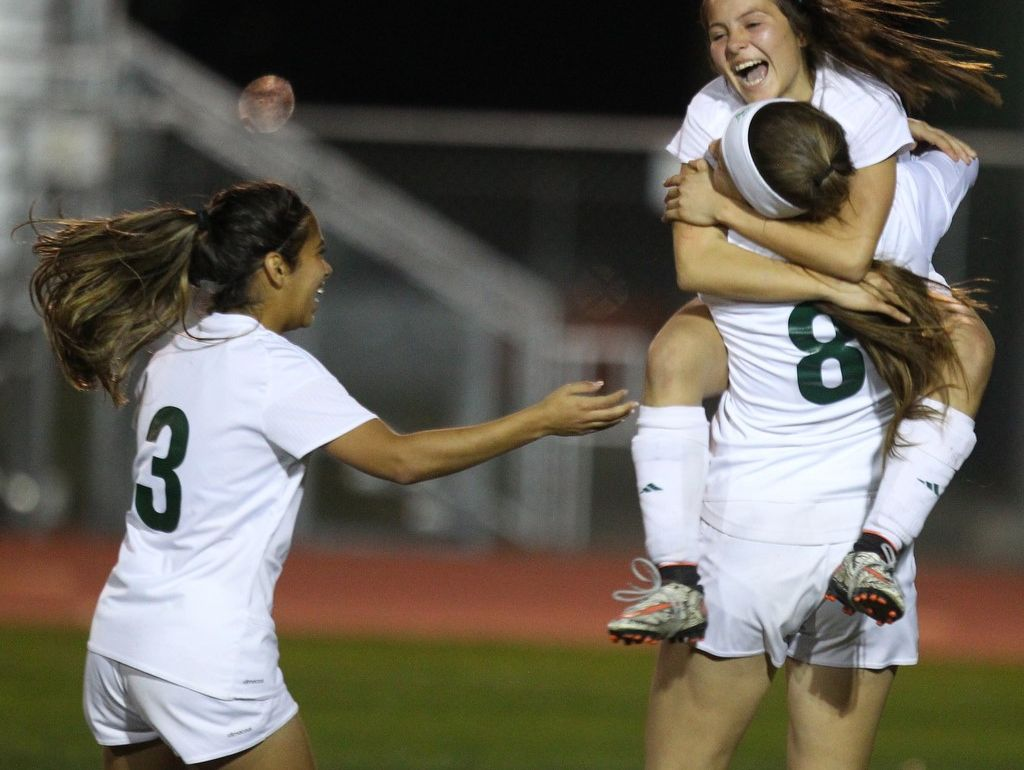 Coachella Valley celebrates its first goal of Tuesday's game versus Rancho Mirage.
