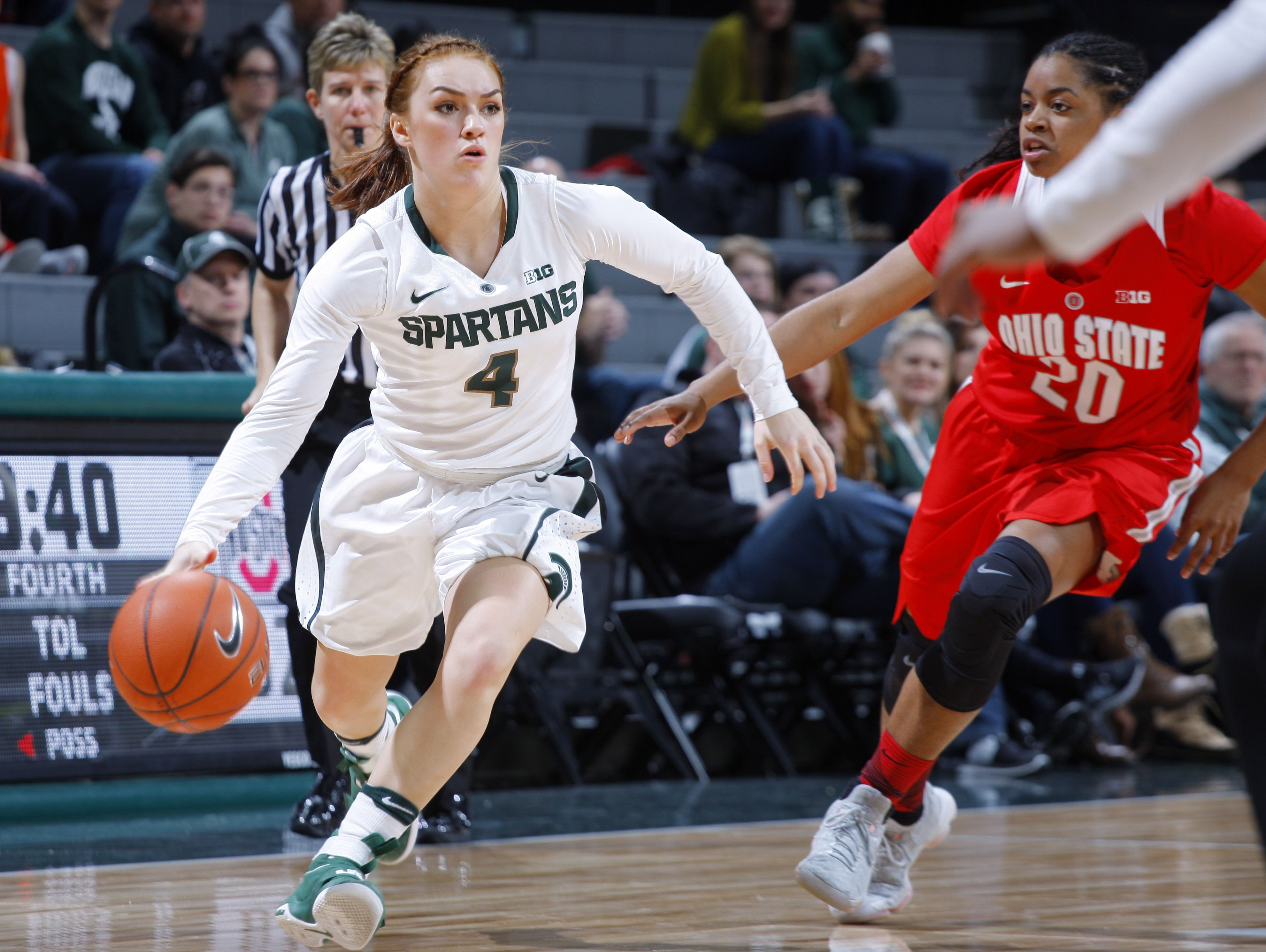 East Lansing grad Taryn McCutcheon, left, has averaged 15.0 points over her last two games for the Michigan State women's basketball team.