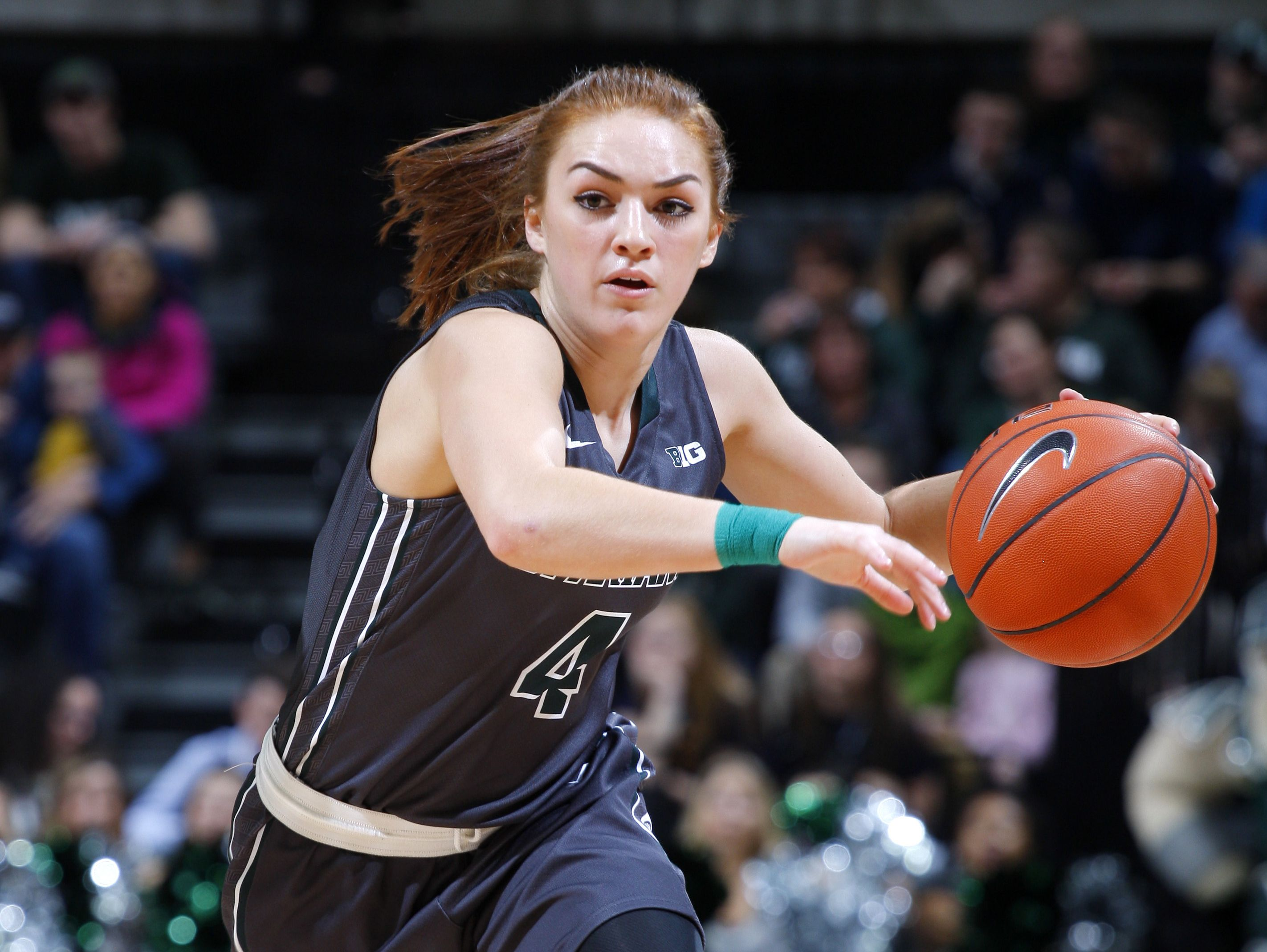 Freshman Taryn McCutcheon has started all 23 games this season for the Spartans and is averaging 7.4 points and 5.1 assists.