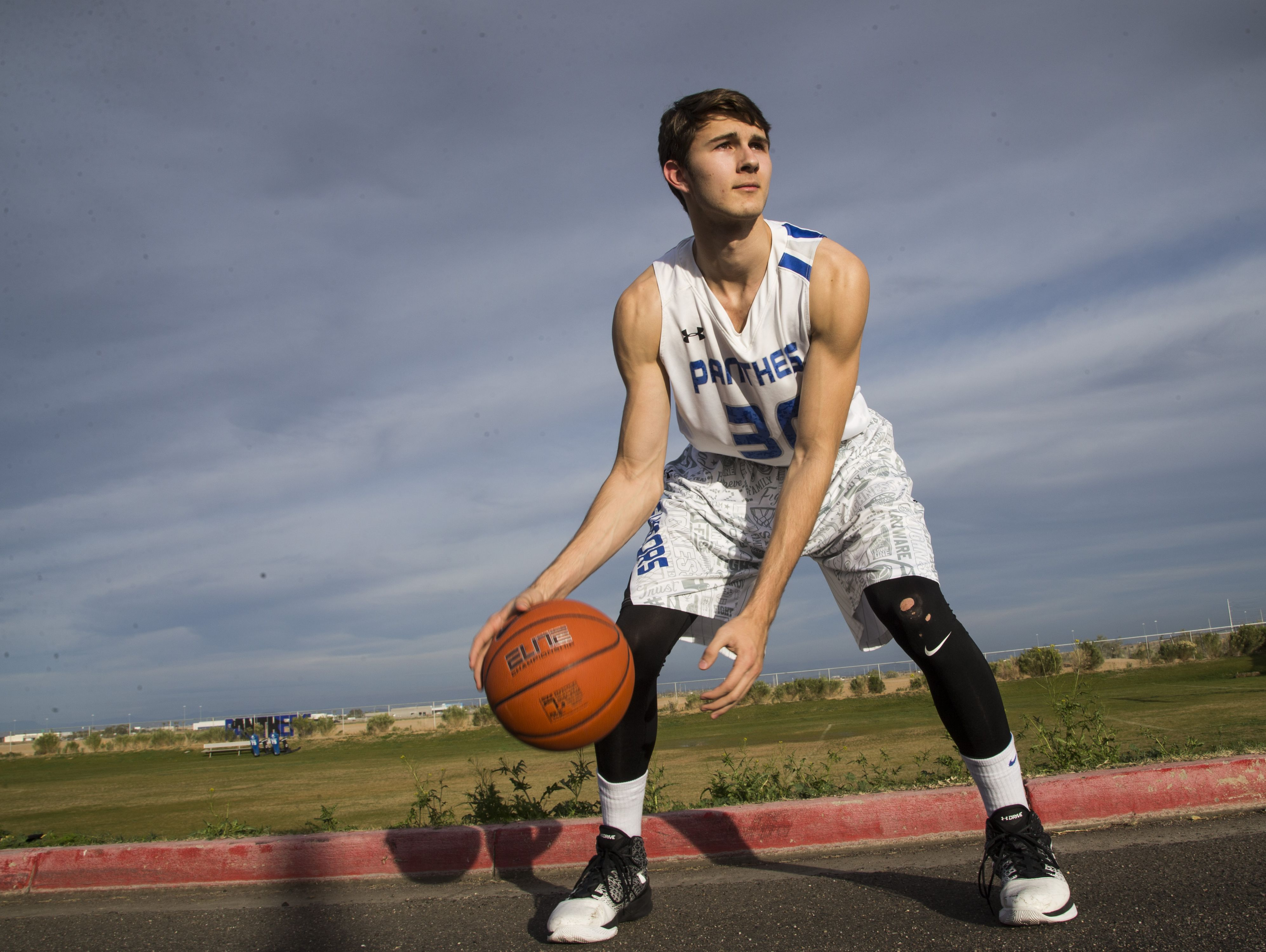 Paradise Honors junior Jared Perry grew from 5'10 to 6'7 over the past three years at Paradise Honors High School on February 6, 2017 in Surprise, Ariz.