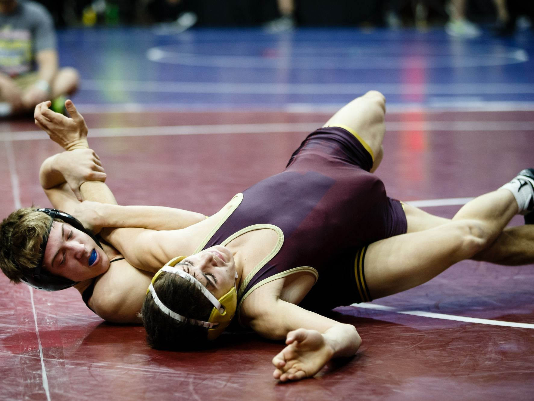 during their match at the Iowa high school state wrestling tournament on Thursday, Feb. 16, 2017 in Des Moines.