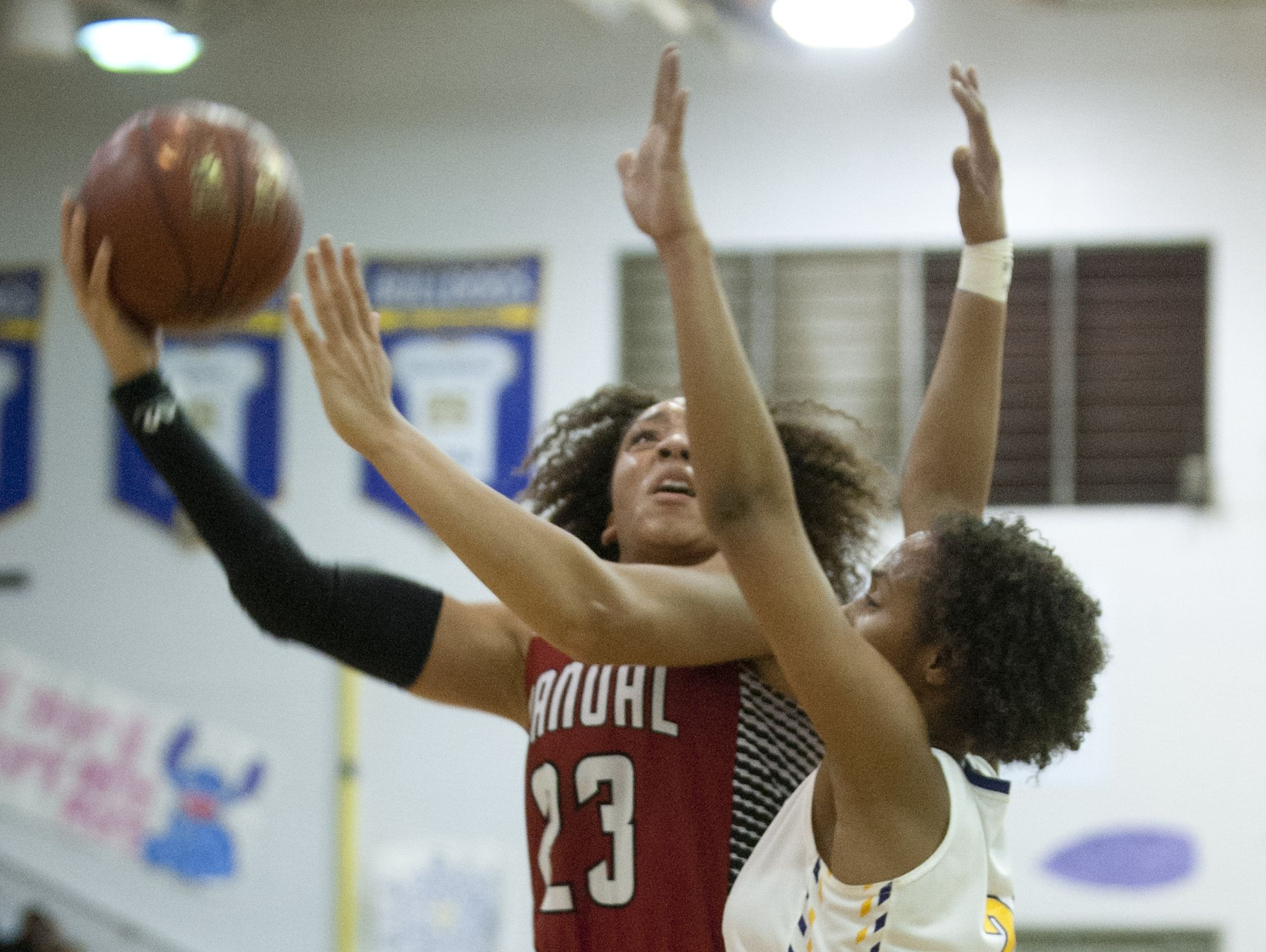 Manual guard Tonysha Curry tries to shoot over the arms of Male forward Jada Owens. 17 February 2017