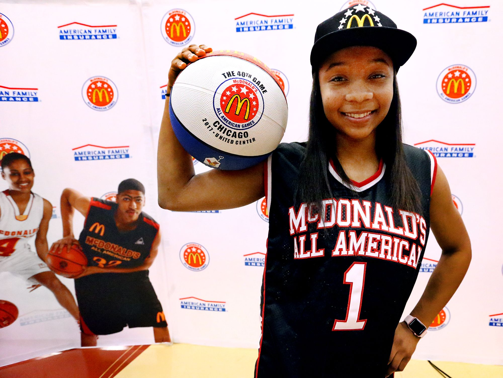 Riverdale's Anastasia Hayes was presented with her McDonald's All American jersey and hat on Tuesday, Feb. 21, 2017, at the school after being named as part of the 40th All American team.