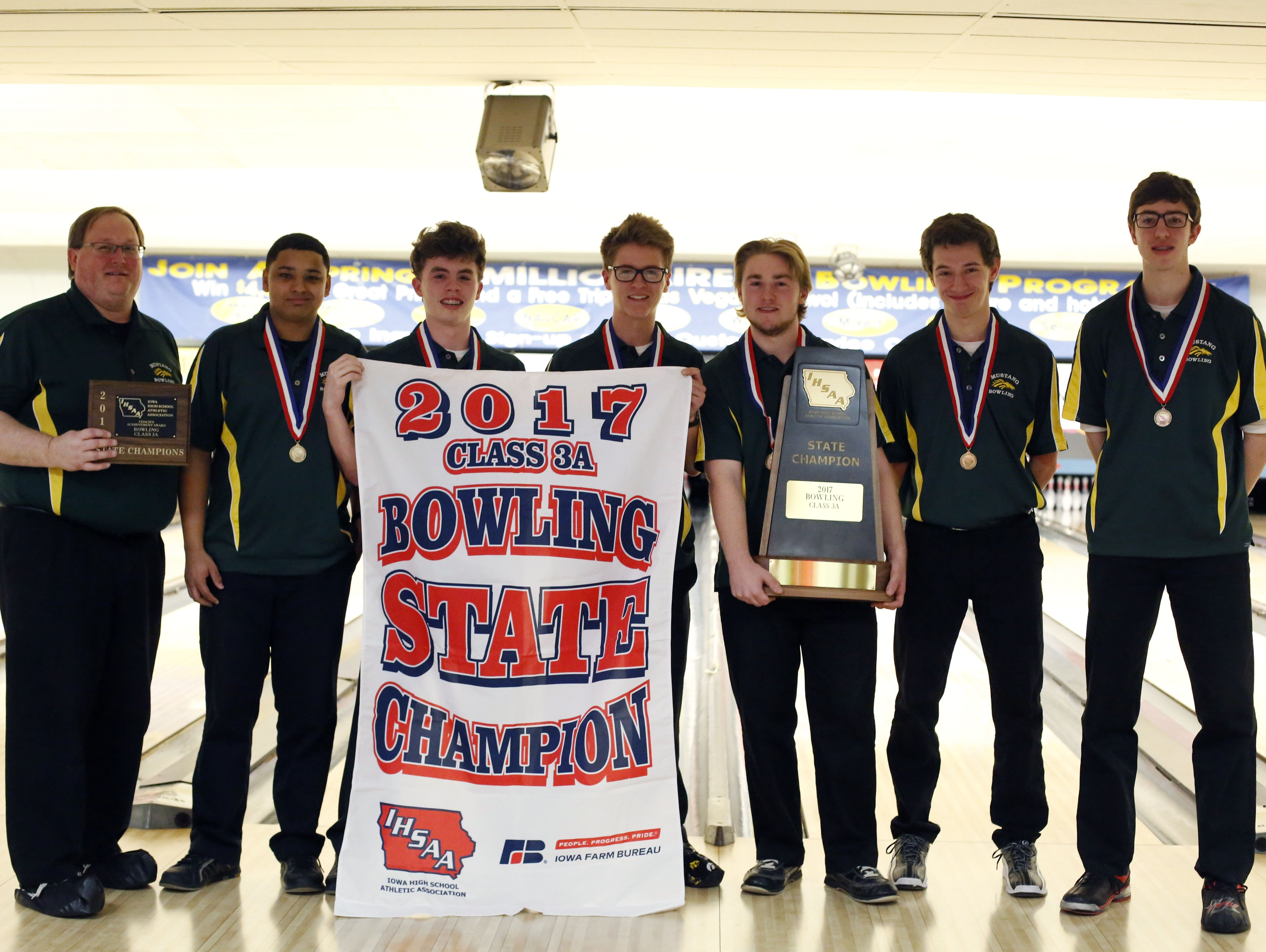 The Dubuque Hempstead team finished first Wednesday, Feb. 22, 2017 at the 3A state bowling tournament at Plaza Lanes in Des Moines.