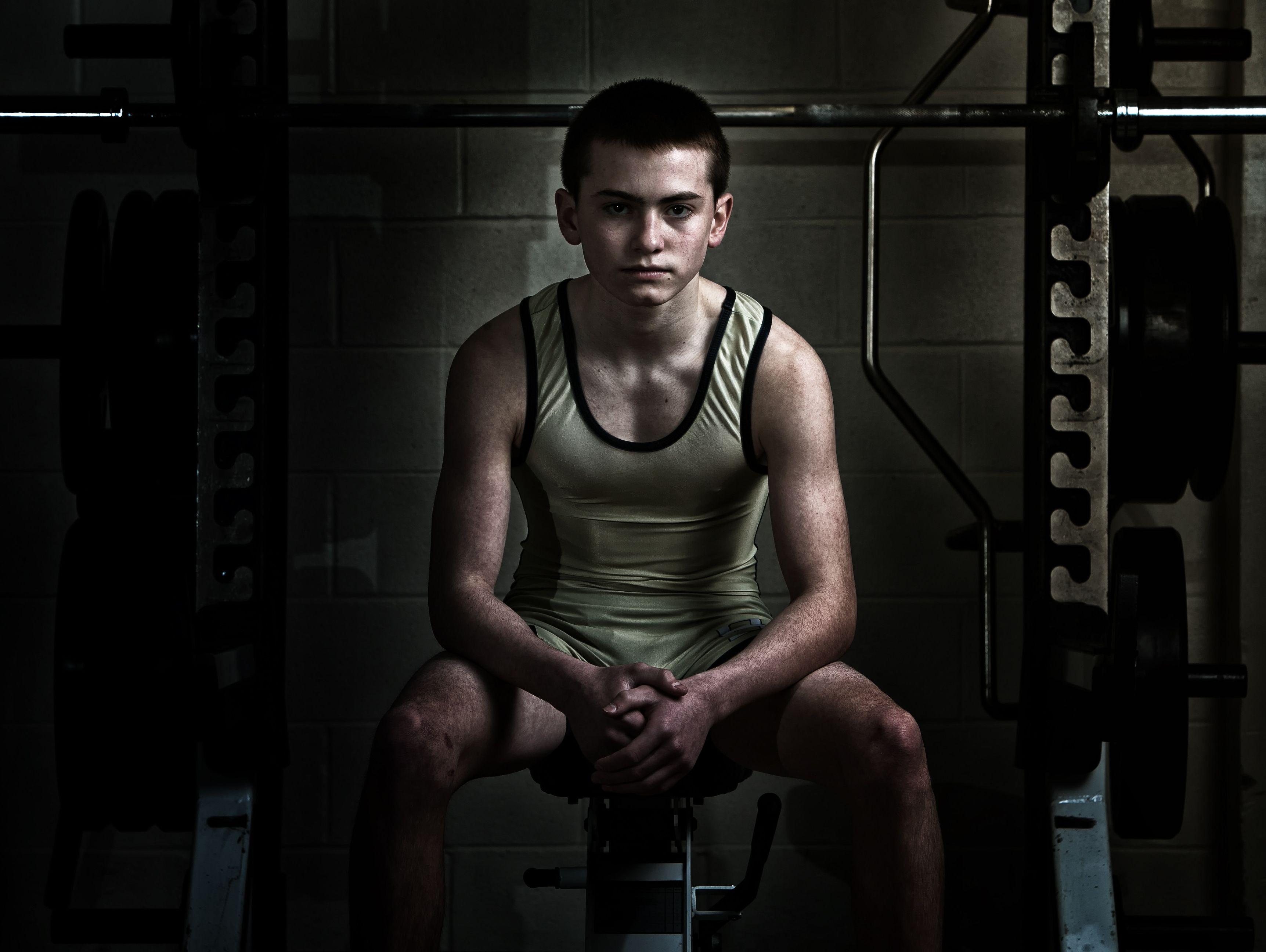 Salesianum 106-pound sate champion wrestler Zach Spence.