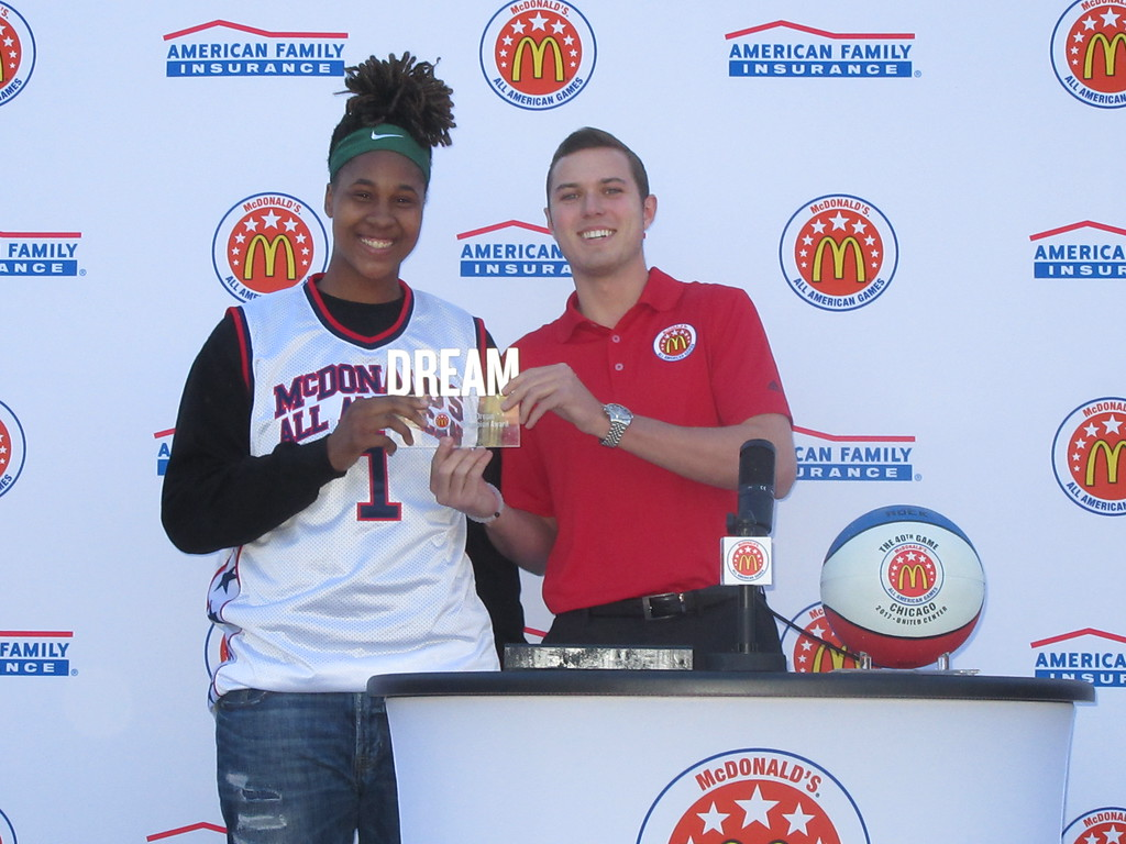 Ayanna Clark presented her coach, Matthew Thalley, with the Dream Champion Award. (Photo: McDAAG)