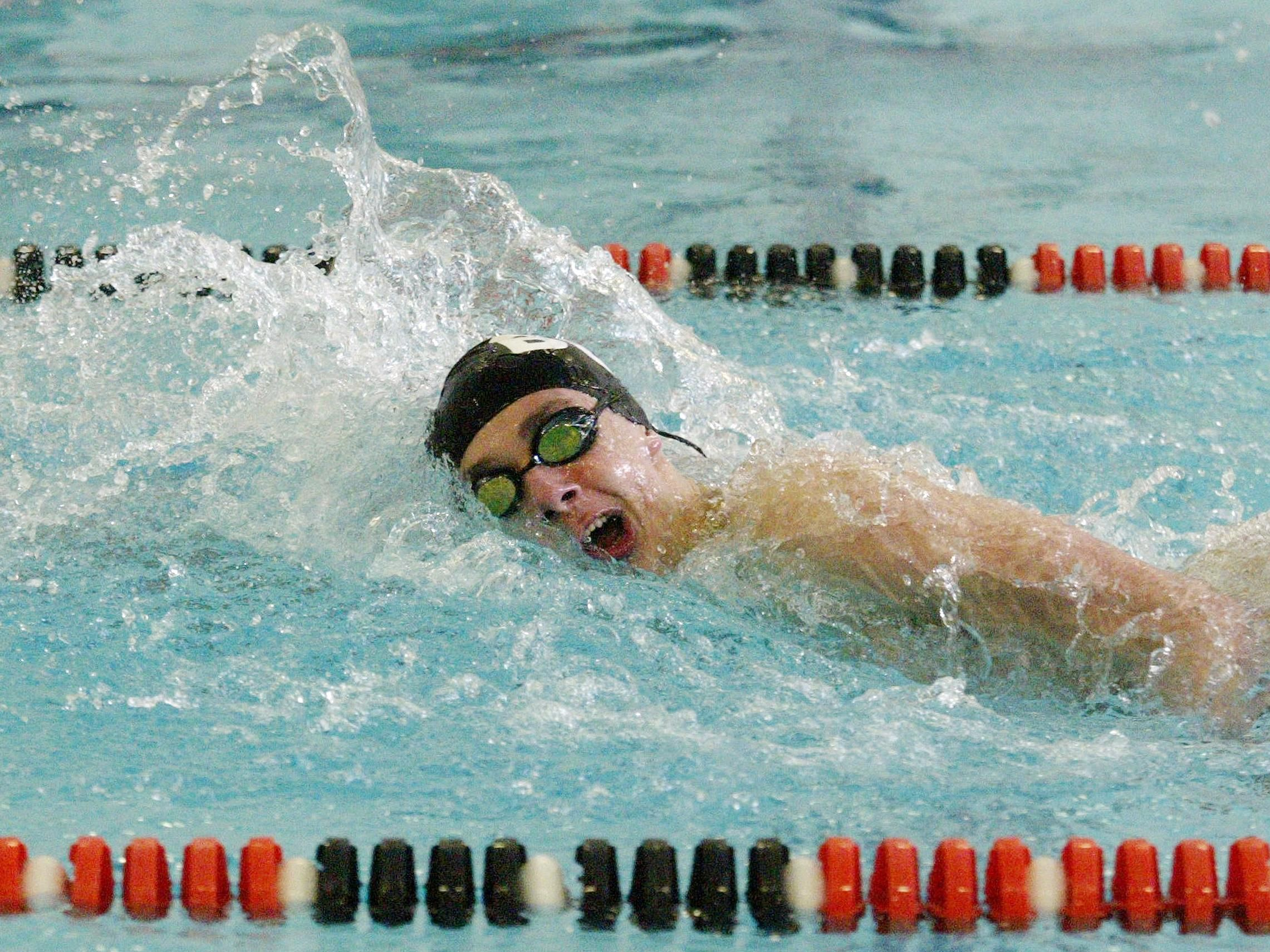Bo Geiger of Brillion/Valders/Chilton swims to a first-place finish in the 100-yard freestyle at the Eastern Wisconsin Conference meet Saturday in Plymouth.