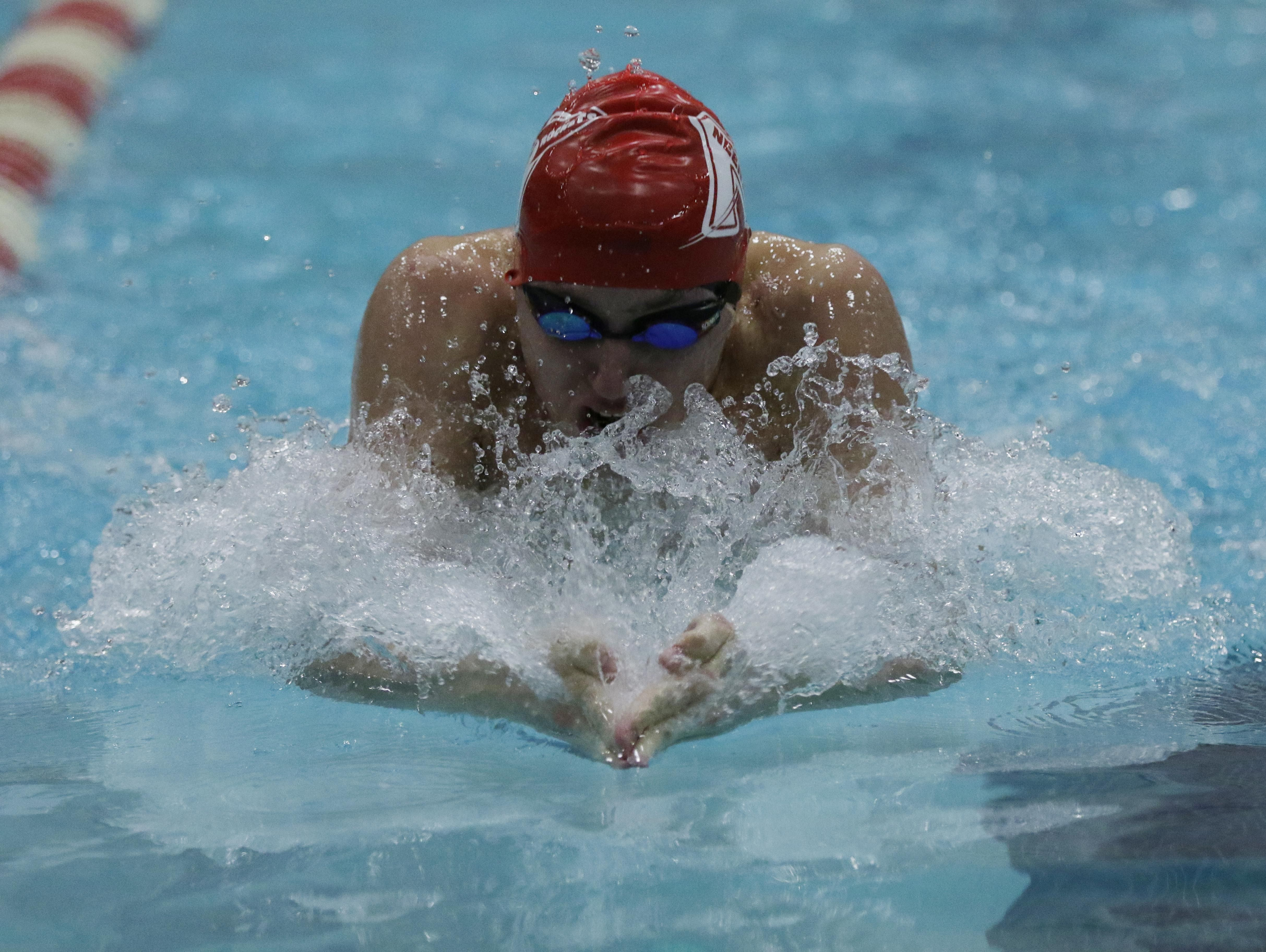 Maxwell Boehnlein of Neenah swims to a second-place finish in the 100-yard breaststroke at the Division 1 state meet Saturday in Madison.
