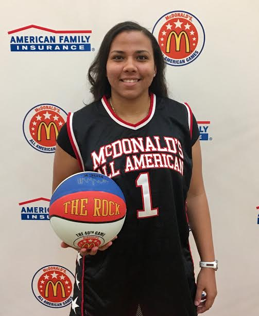 Destiny LIttleton, shown with her honorary McDonald's All American Games jersey, is leading the nation in scoring. Photo: MCDAAG.