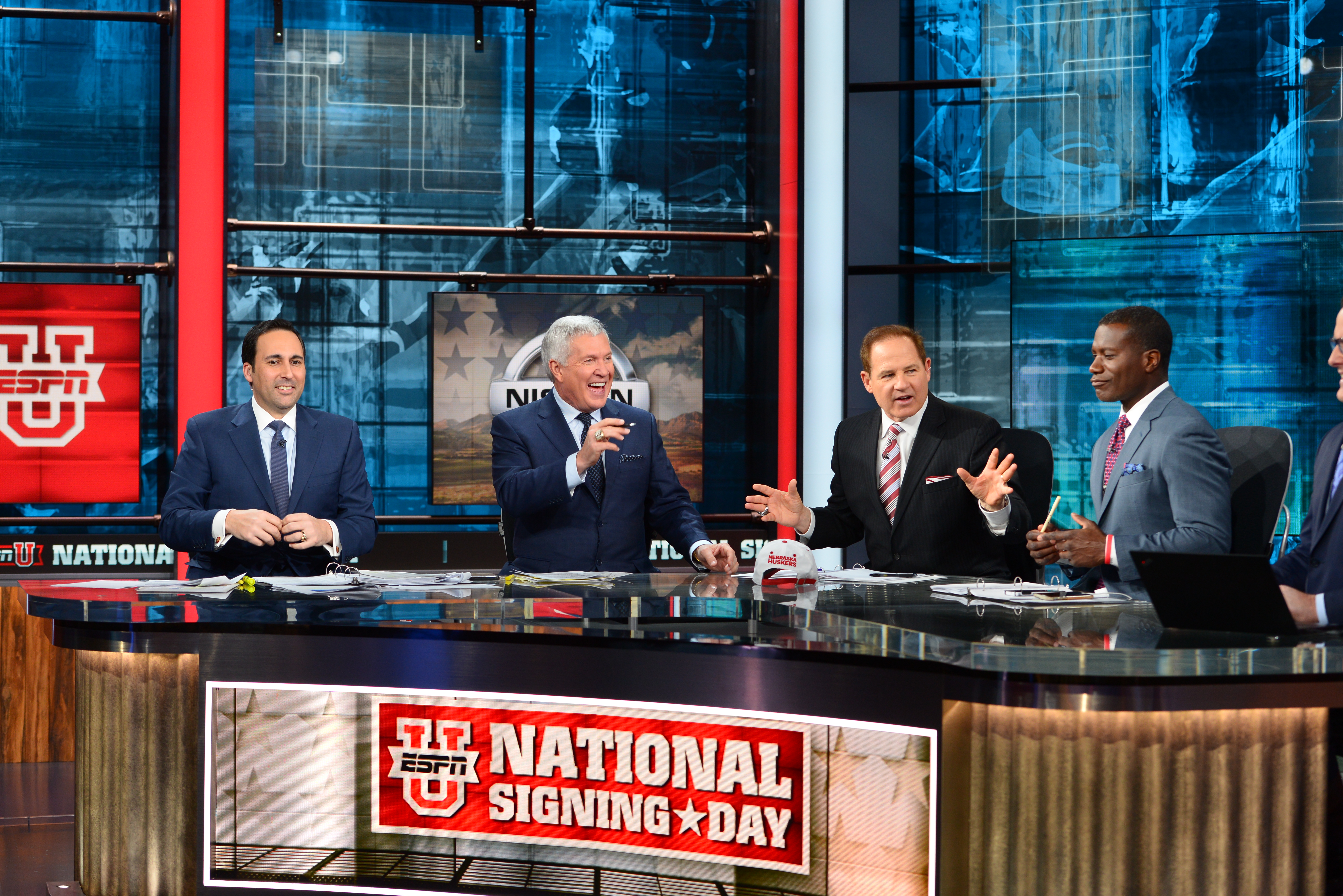 Joe Tessitore (l), Mack Brown, Les Miles and Joey Galloway during the 2017 ESPNU National Signing Day Special (Photo: Melissa Rawlins, ESPN Images)