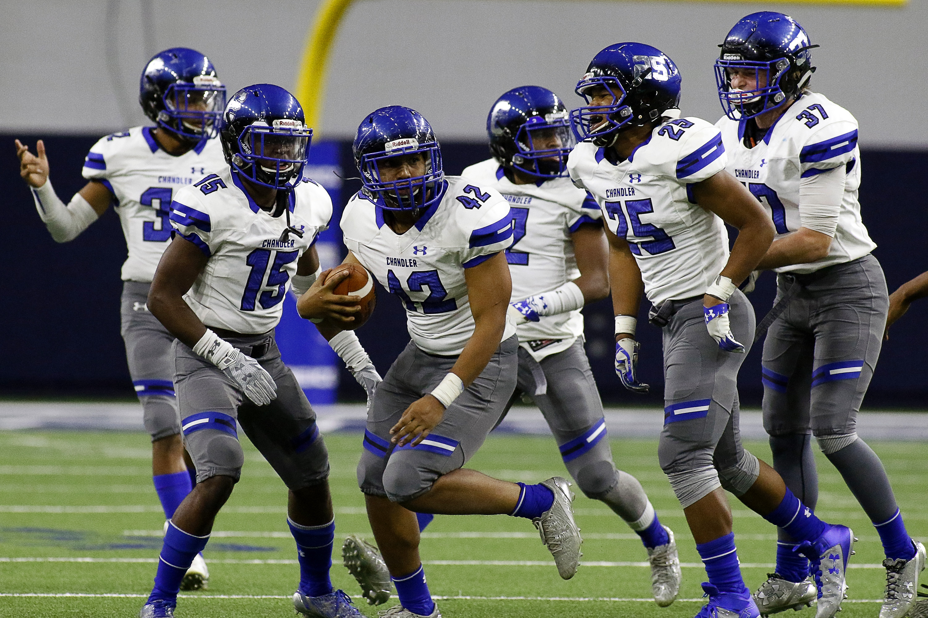 Dec 23, 2016 -- Frisco, TX, U.S.A -- GEICO State Champions Bowl Series. -- Chandler Wolves Savion Sow (42) celebrates his interception against the Valdosta Wildcats during the second half. Chandler won 44-24. Photo by Ray Carlin-USA TODAY Sports Images, Gannett ORG XMIT: US 135851 GEICO preps 12/23/201 [Via MerlinFTP Drop]