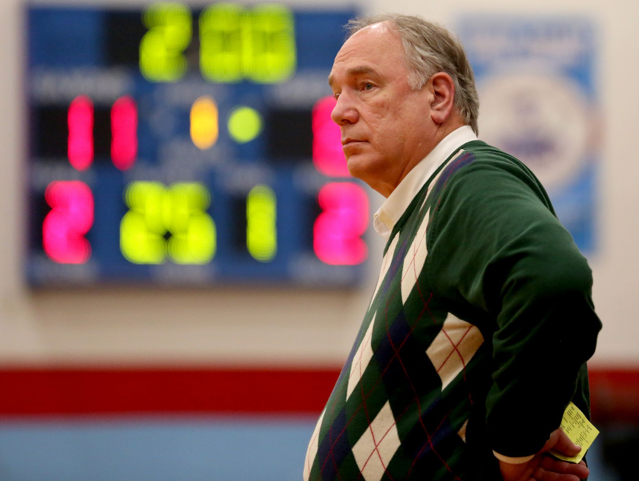 West Salem head coach Terry Williams watches his team play in the West Salem vs. South Salem girl's basketball game at South Salem High School on Tuesday, Jan. 26, 2016. South Salem won the game 62-45.