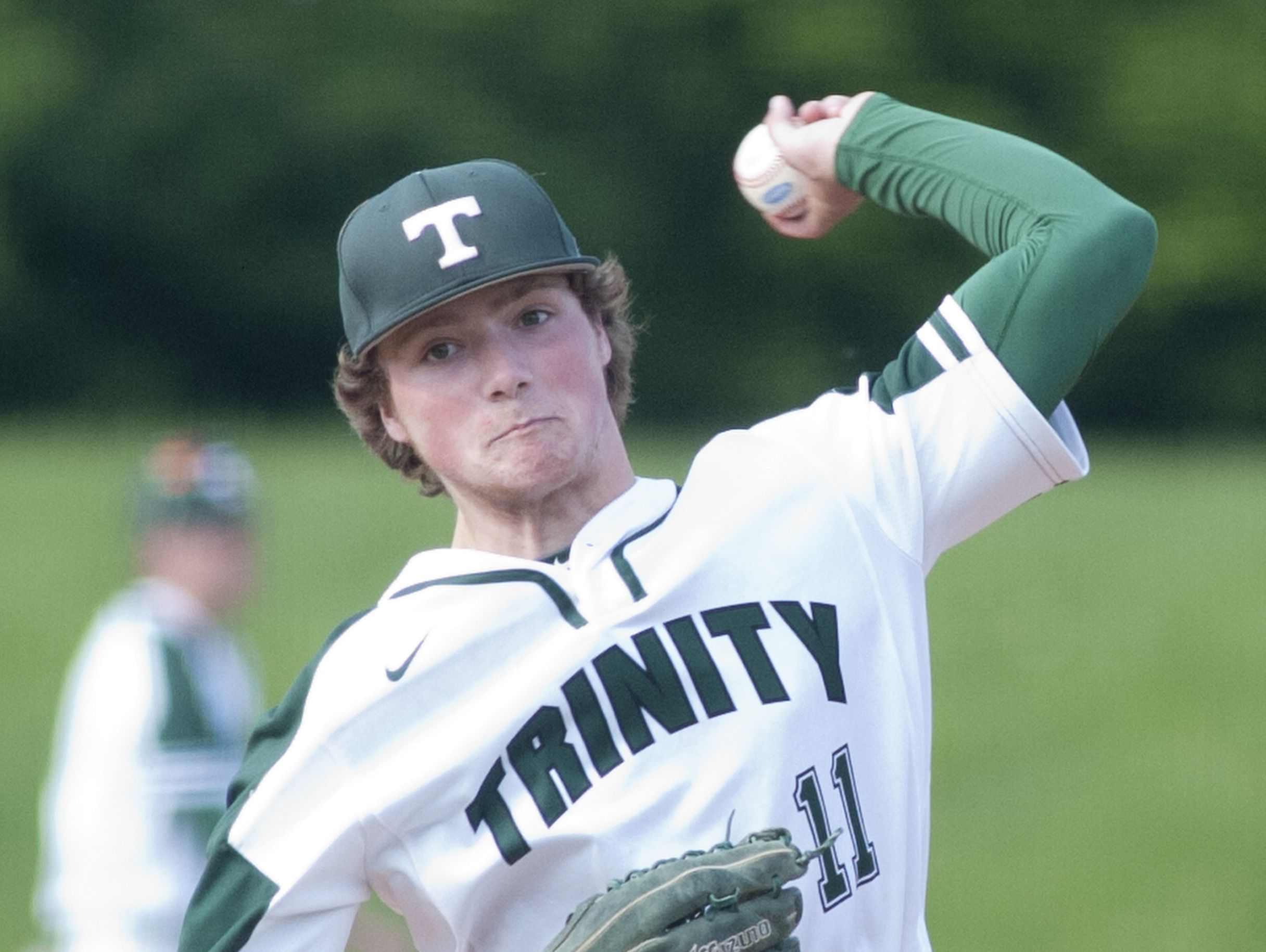 Trinity Shamrocks starting pitcher Brody Heil throws to home plate. 19 May, 2016