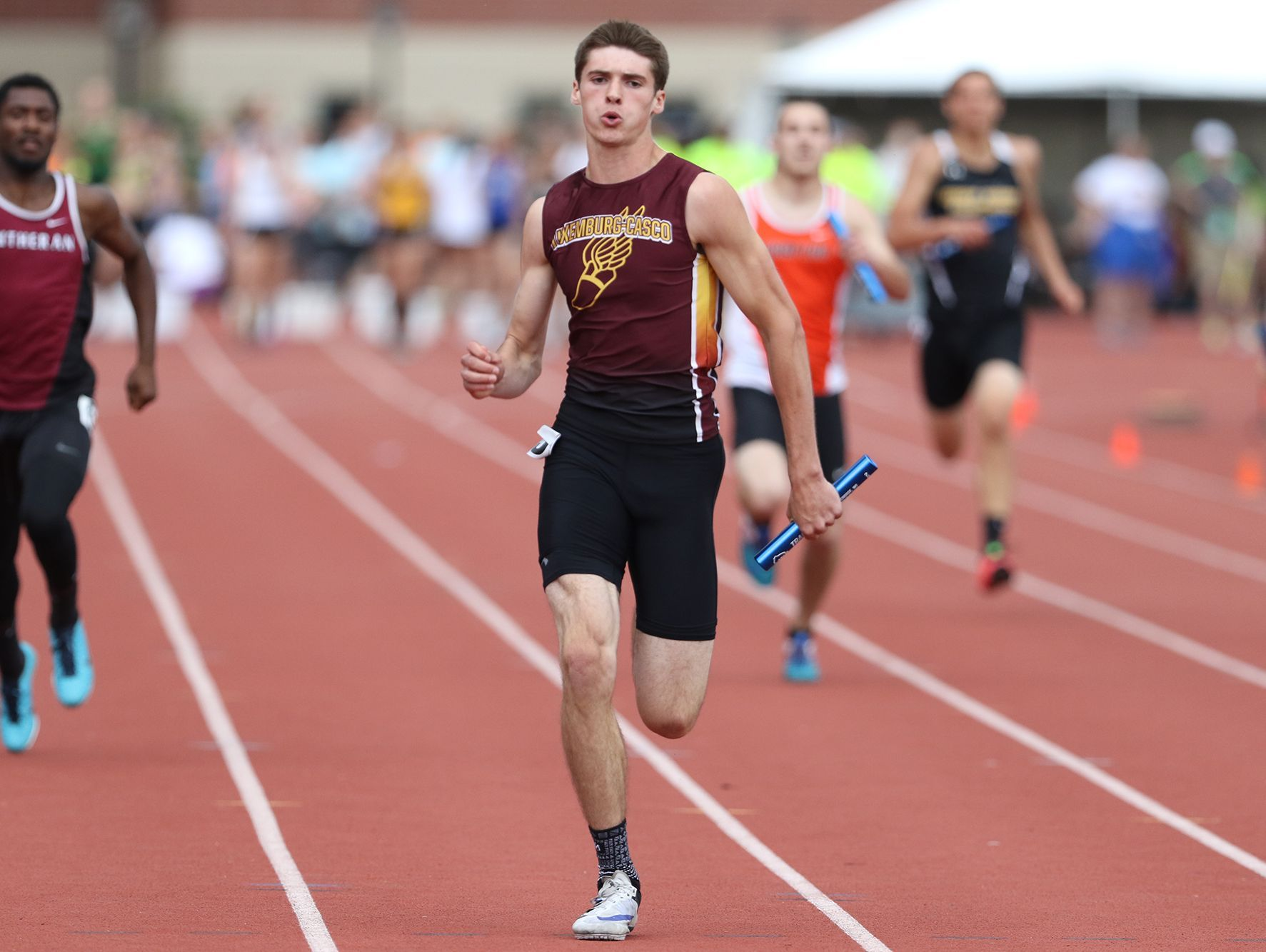 Luxemburg-Casco's Tyler Suess, shown at last year's WIAA state track and field meet in La Crosse, won three events to power the Spartans to the team title at the Earl Herbert Boys Indoor Invite.