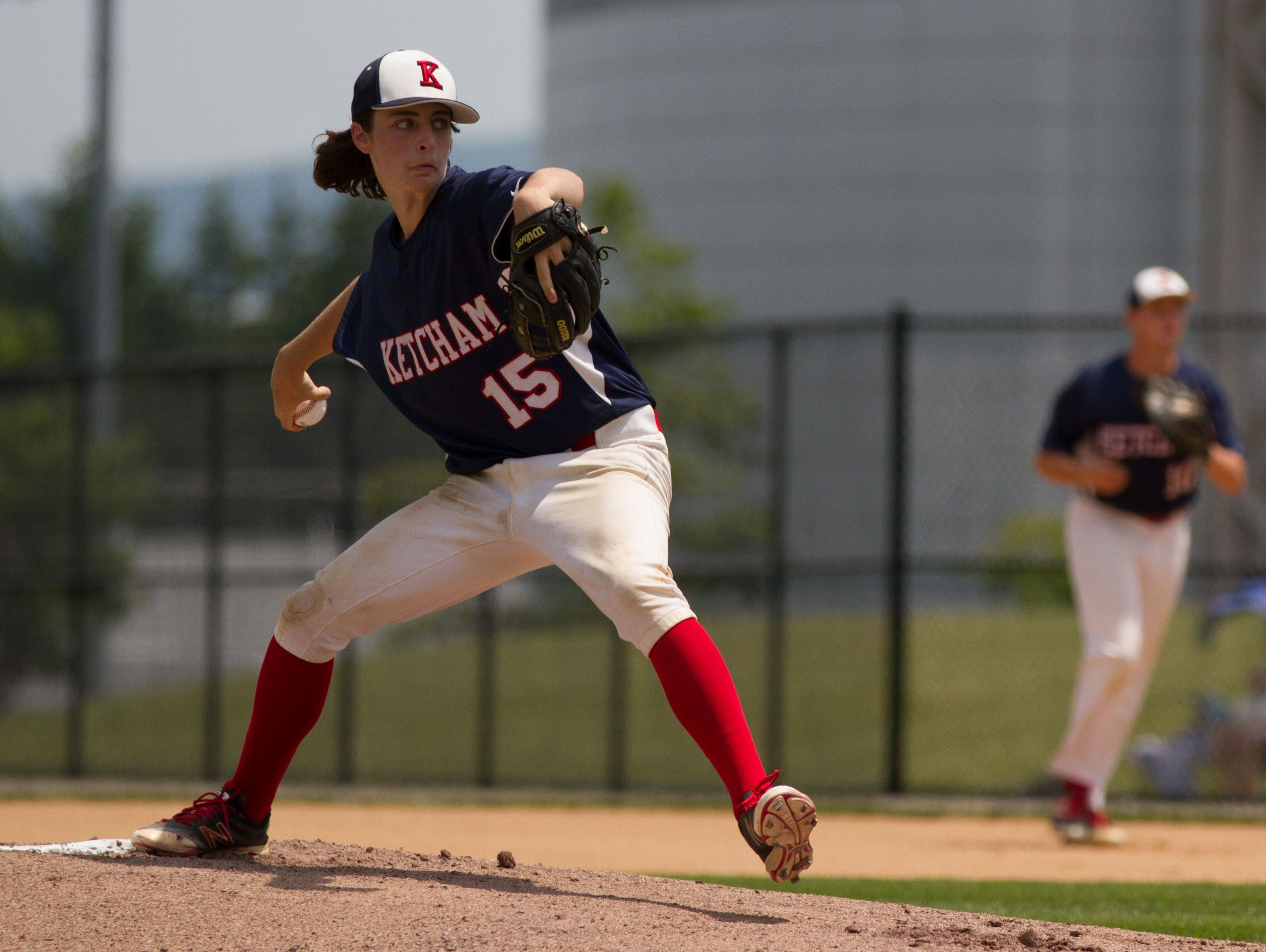 Ryan Murphy pitches for Roy C. Ketcham in the Class AA state semifinals on June 11.
