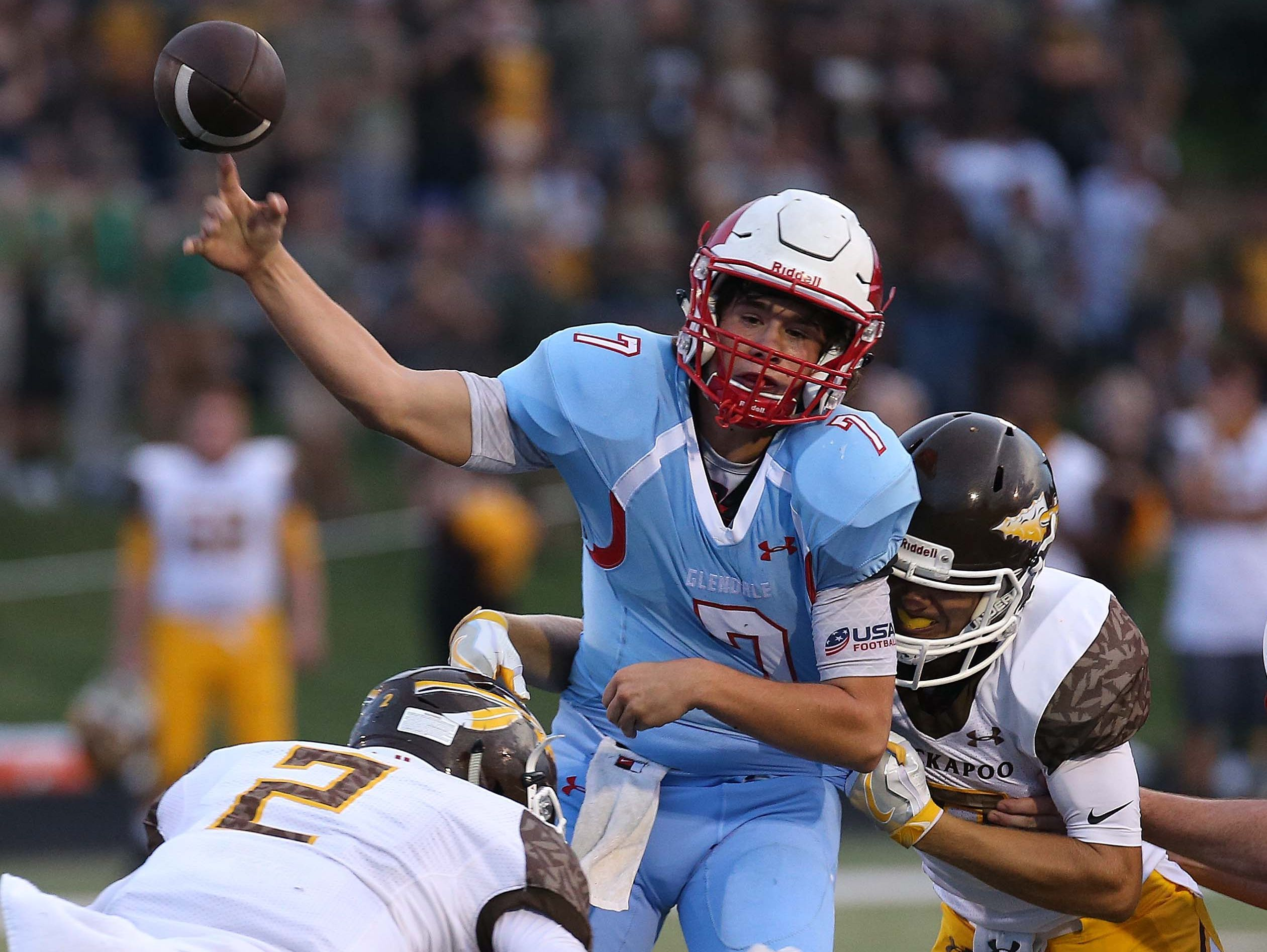 Glendale's Alex Huston throw a last second pass against visiting Kickapoo in Springfield on September 15, 2016.