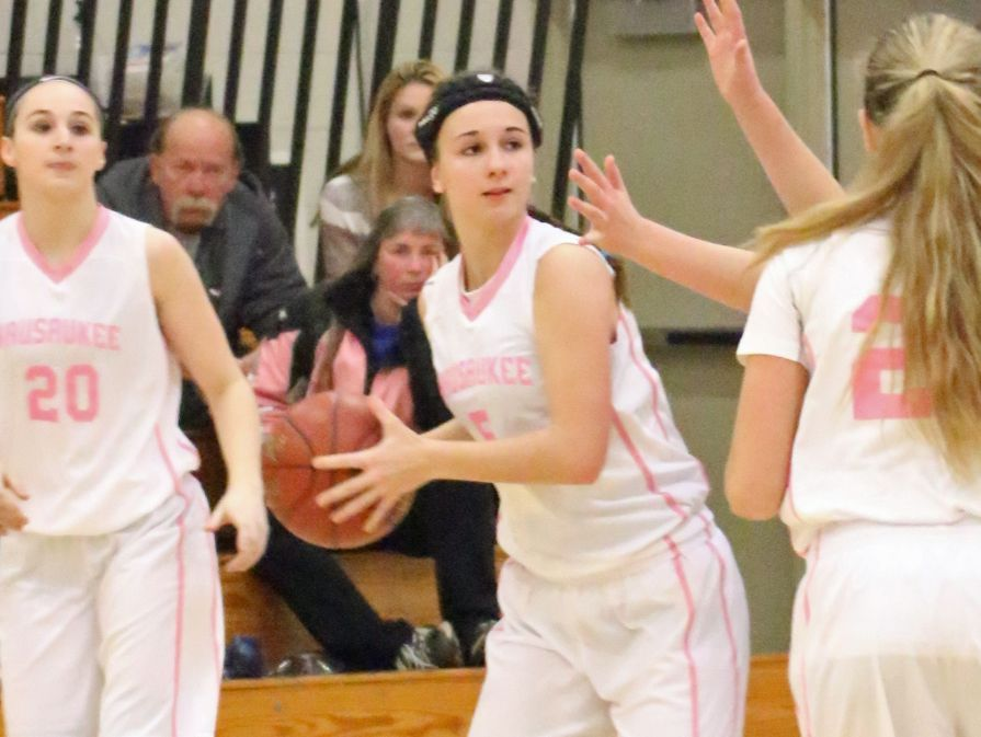 Wausaukee sophomore Courtney Messar looks to make a pass Dec. 2 against Crivitz during an M&O Conference girls basketball game. Wausaukee wore pink uniforms during its Cancer Reflection Night. Messar wears pink sneakers with teal laces for her grandparents.