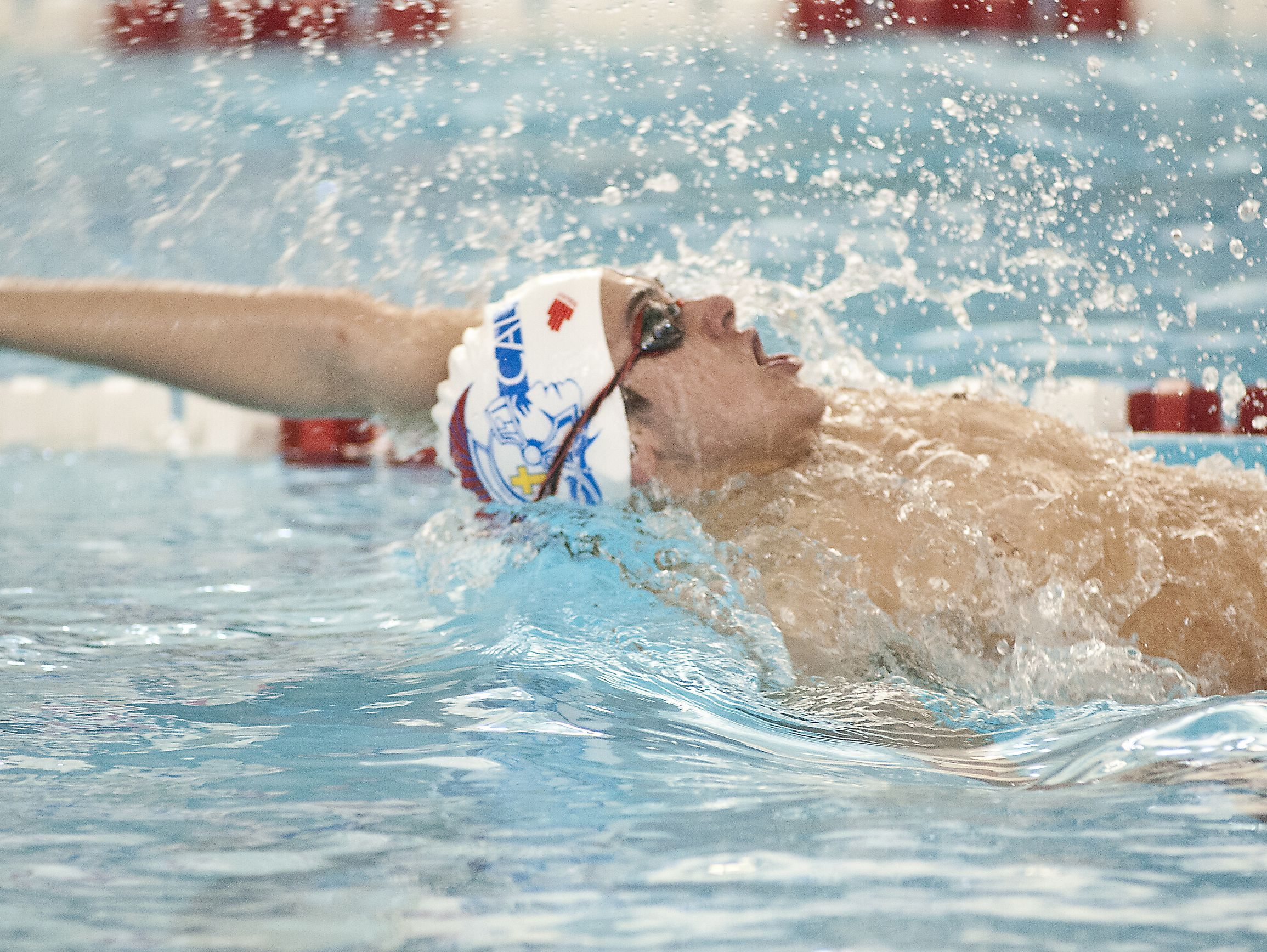 Christina Academy of Louisville's Nicolas Albiero takes 1st place in the KHSAA boys state swimming championships 100 yard backstroke setting a new state record with a time of 47.23 seconds. 25 February 2017