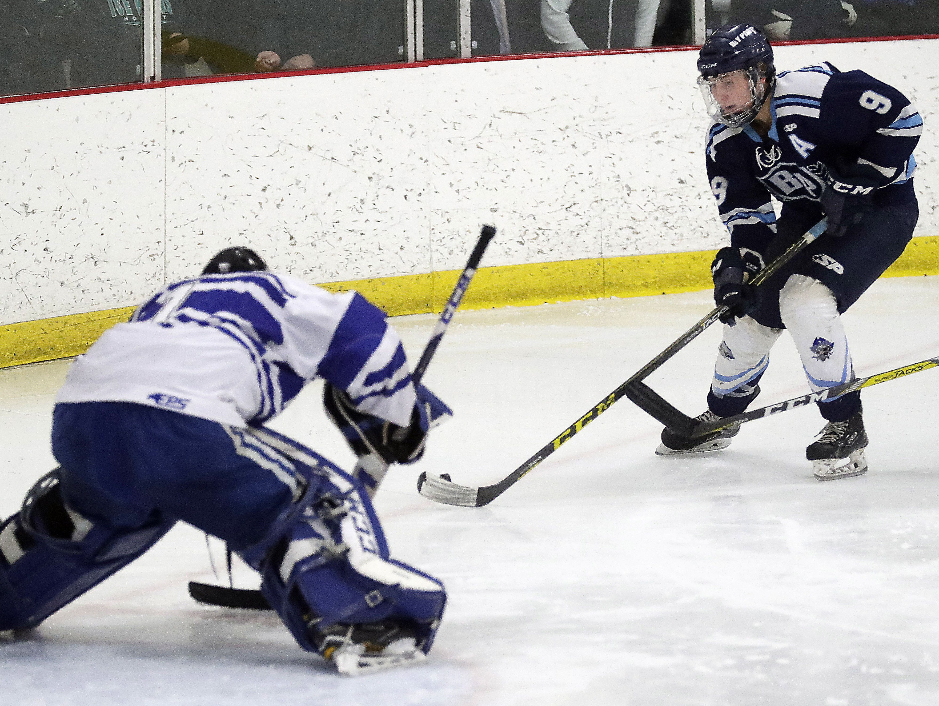 Bay Port senior Austin Mikesch is the Pirates' leading scorer with 45 points (25 goals, 20 assists). Mikesch is one of 10 players with at least 10 points.