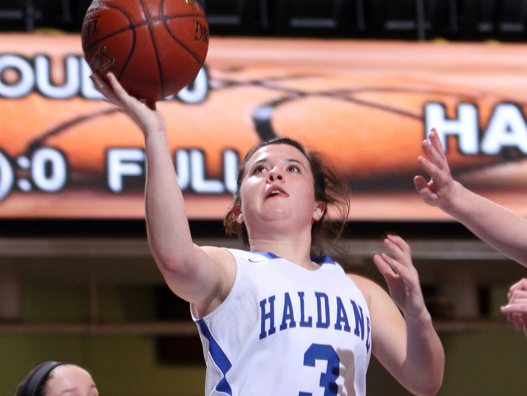 Haldane's Hannah Monteleone shoots during a Section 1 Class C semifinal basketball game against Pawling at the Westchester County Center Feb. 28, 2017. Haldane defeated Pawling 64-37.