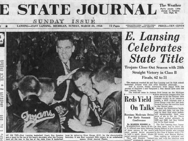 The cover of the March 23, 1968, edition of the Lansing State Journal depicting East Lansing as state basketball champs.