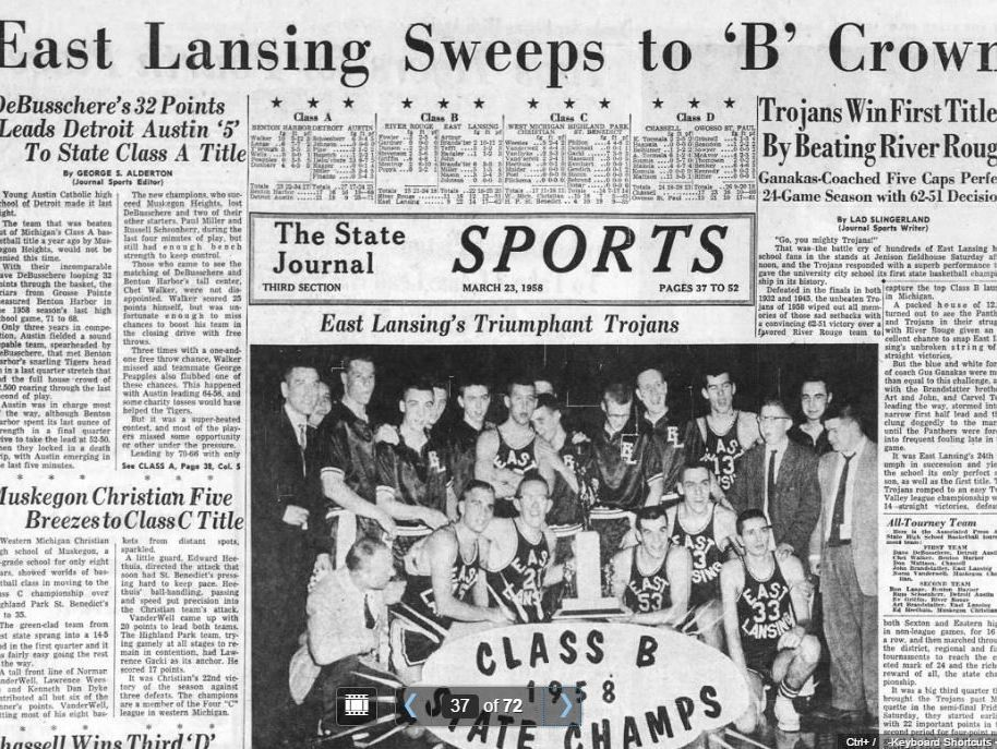 The sports cover of the March 23, 1958 edition of the Lansing State Journal, depicting East Lansing as state champions.