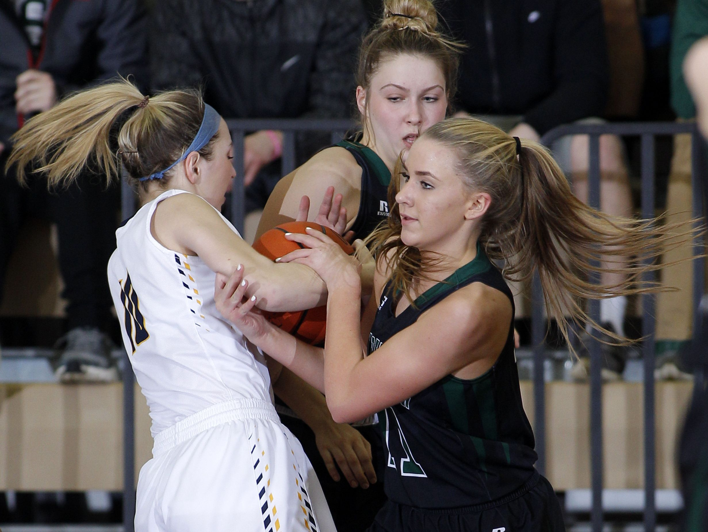 Haslett's Annisa Whims, left, and Williamston's Paige Basore battle for the ball during their district semifinal game Wednesday, March 1, 2017, in Fowlerville, Mich. Williamston won 53-42.