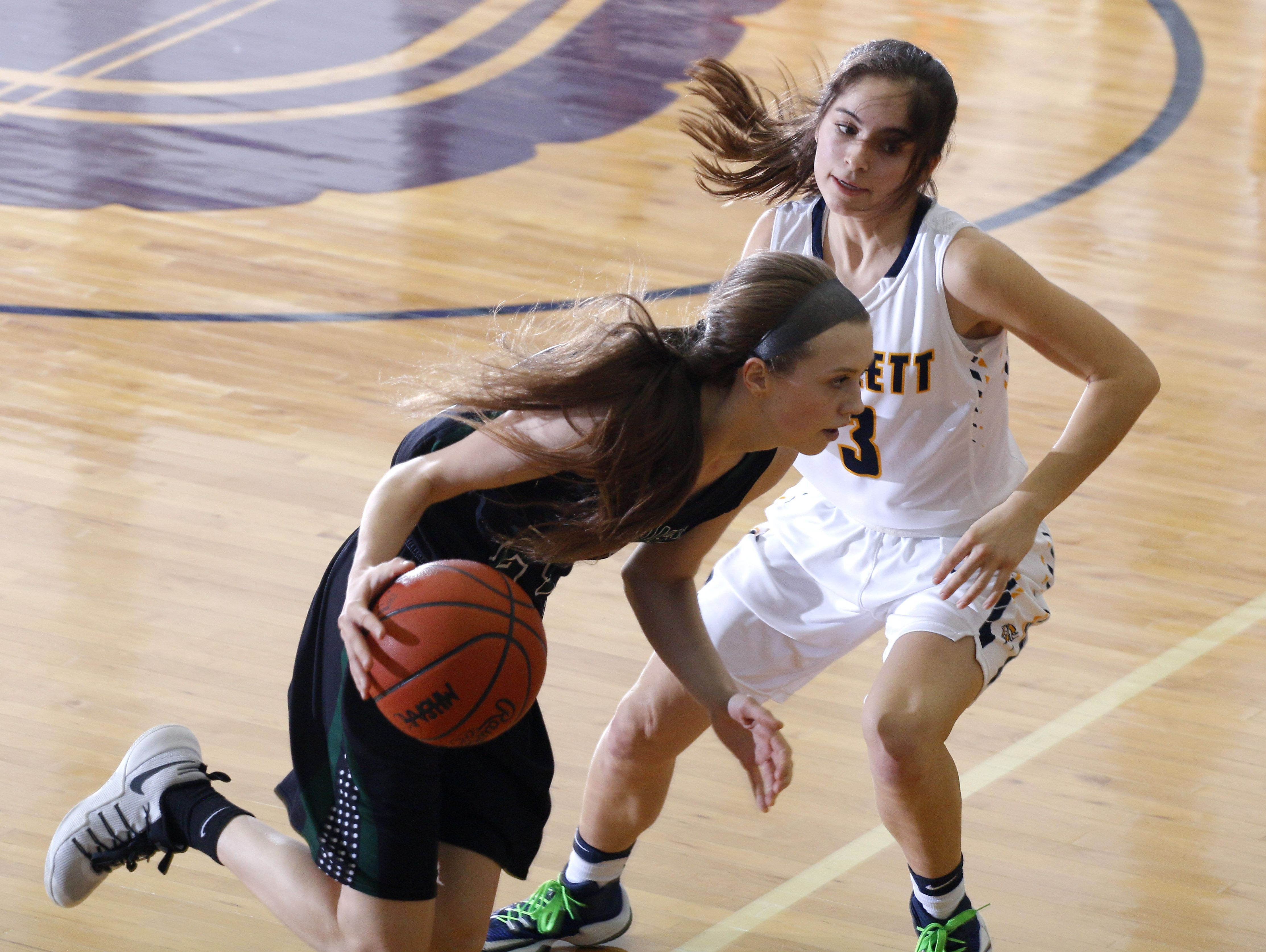 Williamston's Kenzie Lewis, left, drives past Haslett's Sophie Hall during their district semifinal game Wednesday, March 1, 2017, in Fowlerville, Mich. Williamston won 53-42.