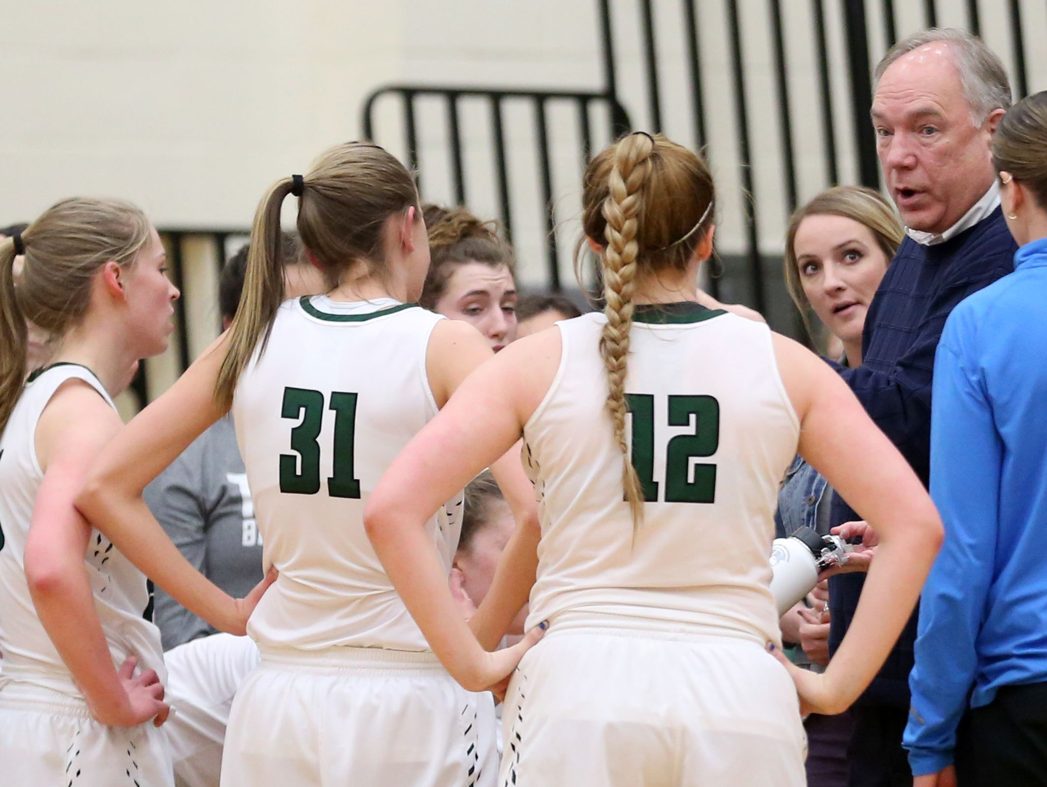 West Salem head coach Terry Williams talks to his team during the first half of the Central Catholic vs. West Salem girl's basketball game, in the first round of the OSAA State Championships playoffs, at West Salem High School on Wednesday, March 1, 2017. West Salem won the gam 53-46. They will play South Salem in Round 2 of the OSAA State Championships playoffs on March 4.