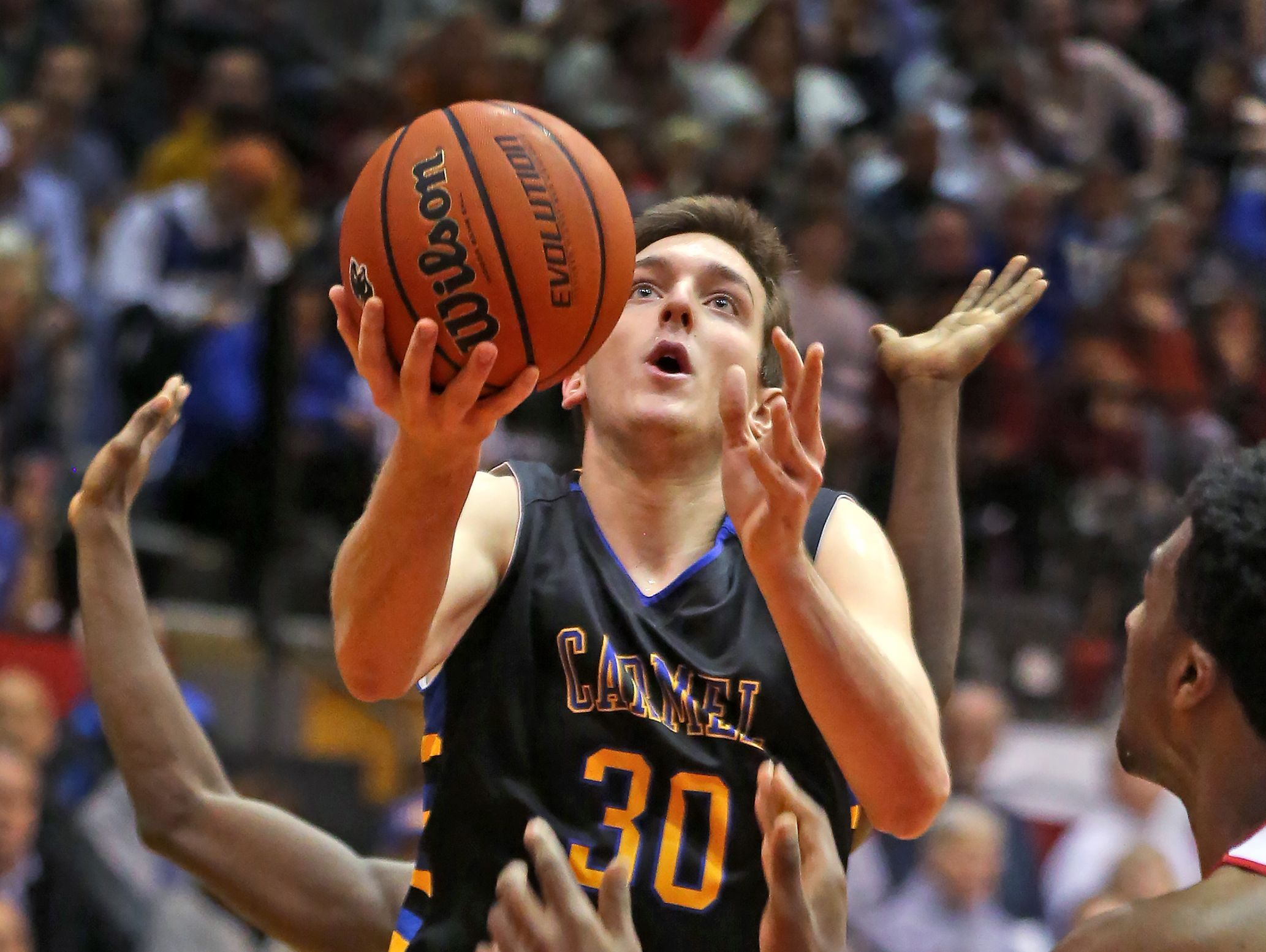 FILE – Carmel's PJ Baron scored a team-high 17 points in the Greyhounds' sectional clinching win over HSE on Saturday.