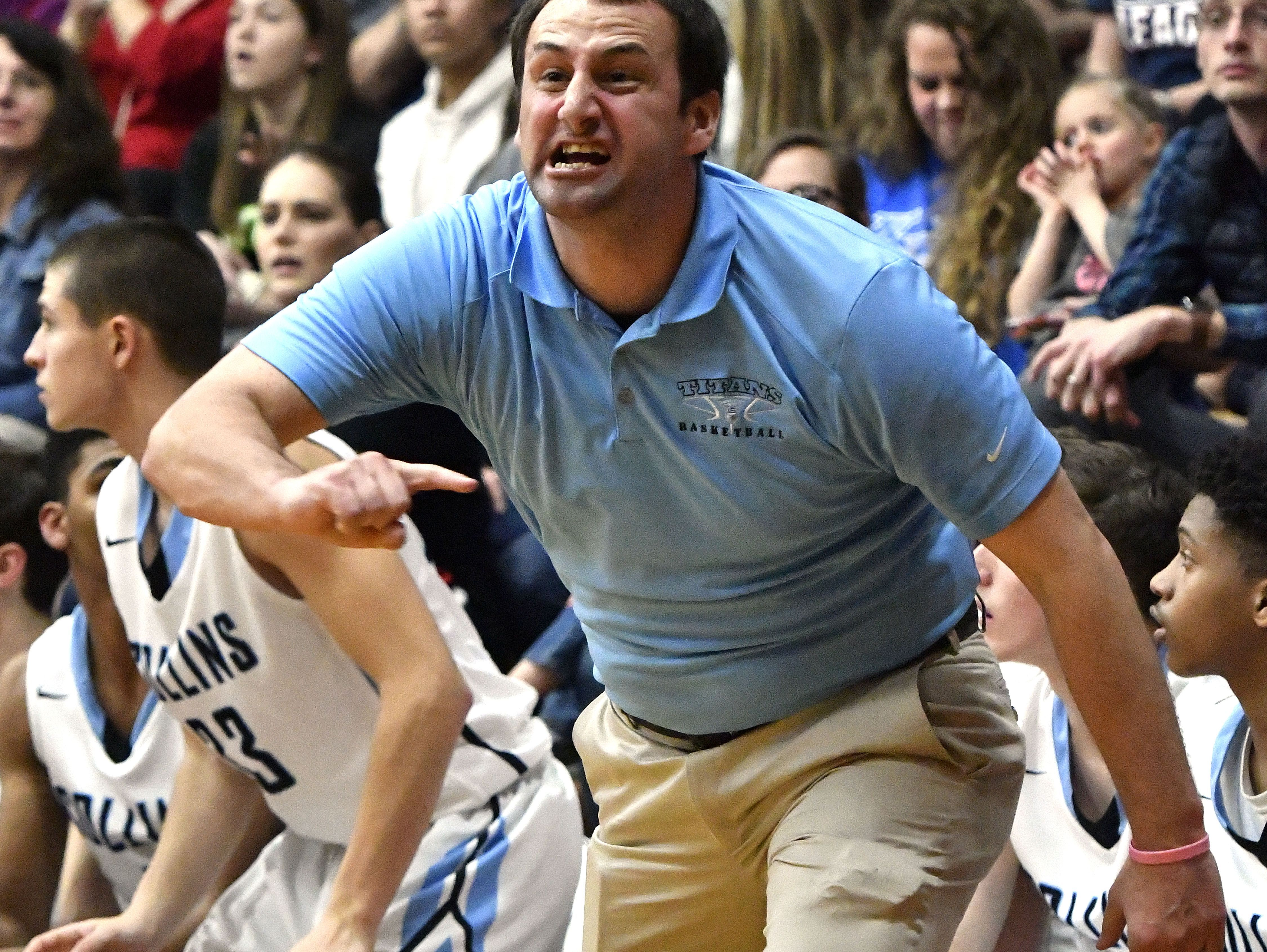 Collins head coach Chris Gaither shouts instructions his team on during their Eighth Region Championship game against Anderson County, Tuesday, Mar. 07, 2017 in Eminence Ky. Collins won 54-53. (Timothy D. Easley/Special to the C-J)