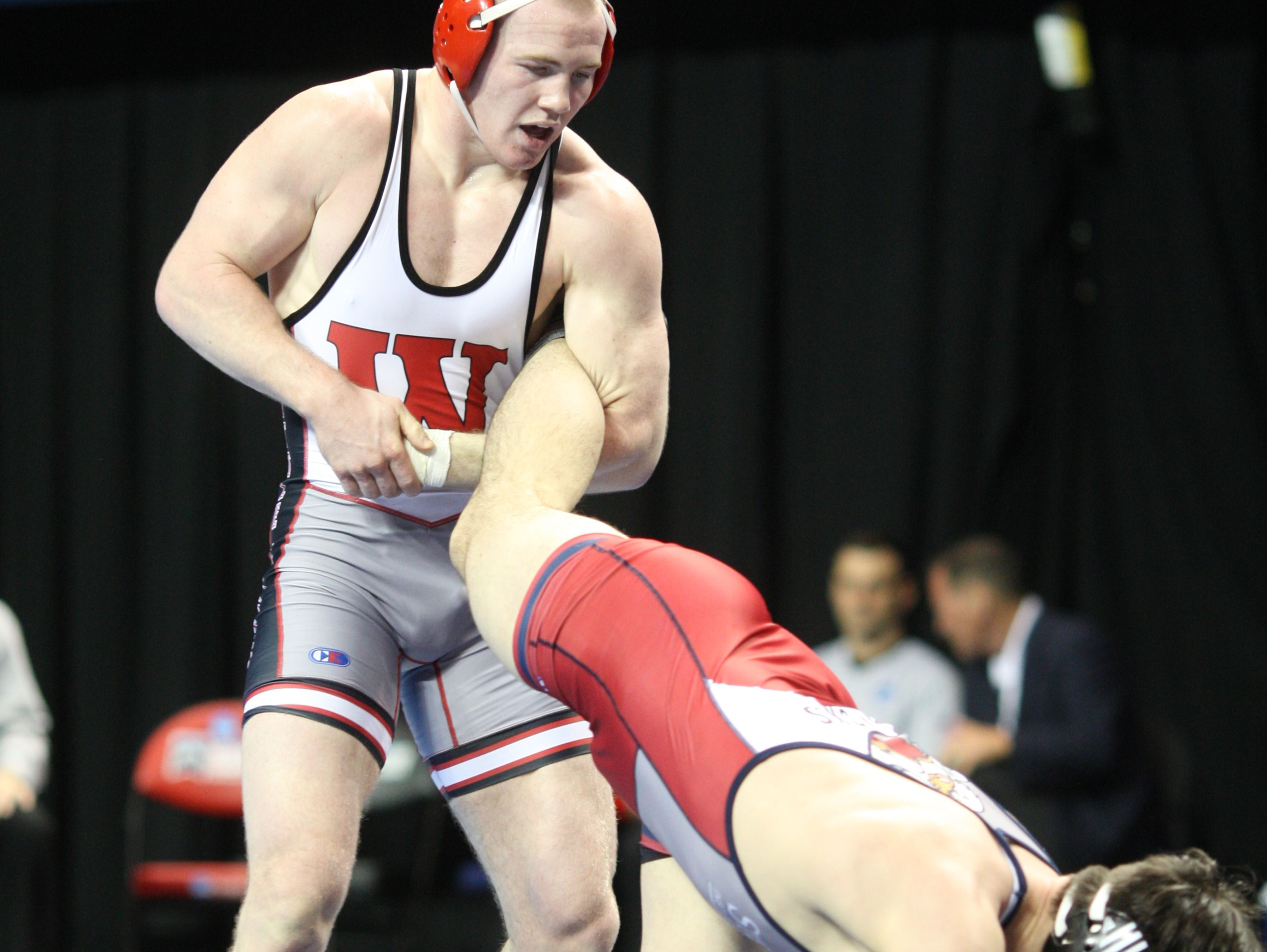 Riley Lefever of Wabash at the US Cellular Arena in Cedar Rapids Iowa at the 2016 NCAA Division III National Championship on March 11, 2016.