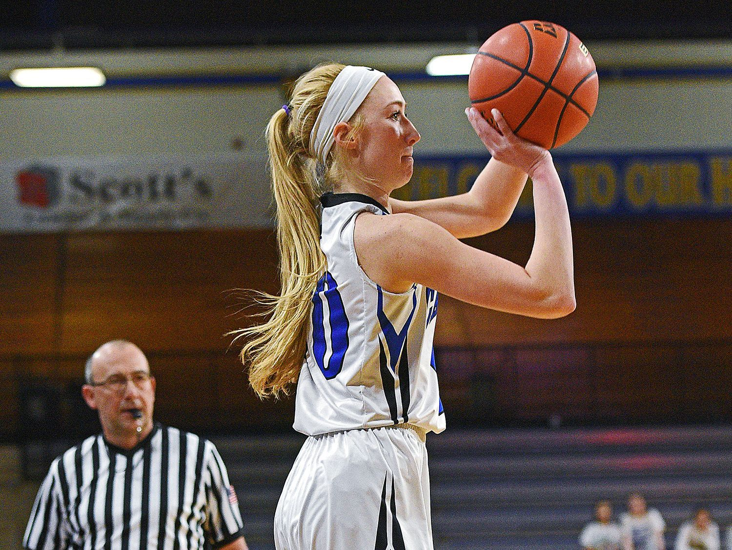 St. Thomas More's Dru Gylten (10) takes a shot during a 2017 SDHSAA Class A State Girls Basketball Tournament quarterfinal game against Madison Thursday, March 9, 2017, at Frost Arena on the South Dakota State University campus in Brookings, S.D. St. Thomas More beat Madison 57-32.