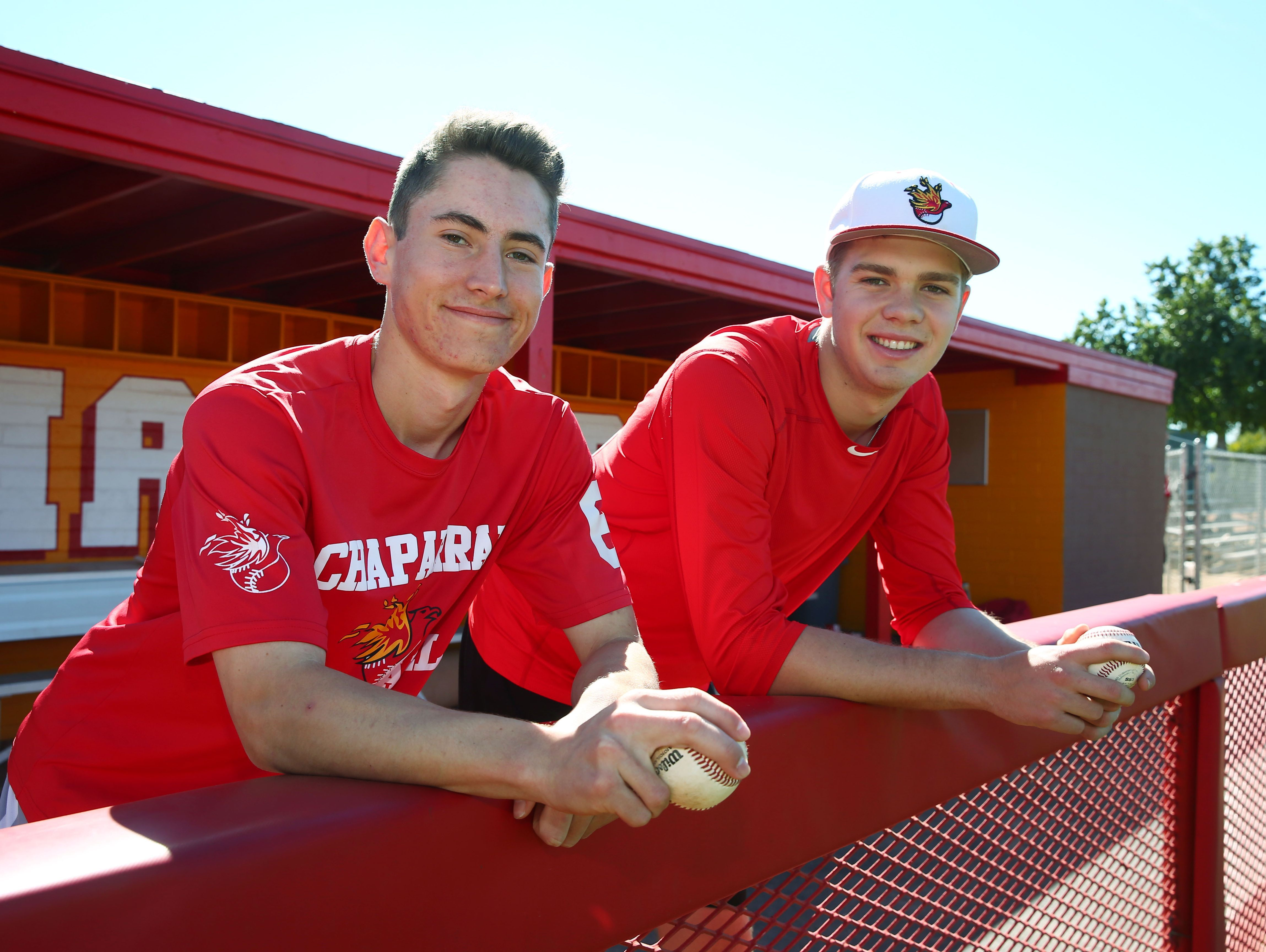 Chaparral High pitchers Casey Candiotti and Ben Kirke (right) on March 7 in Scottsdale.