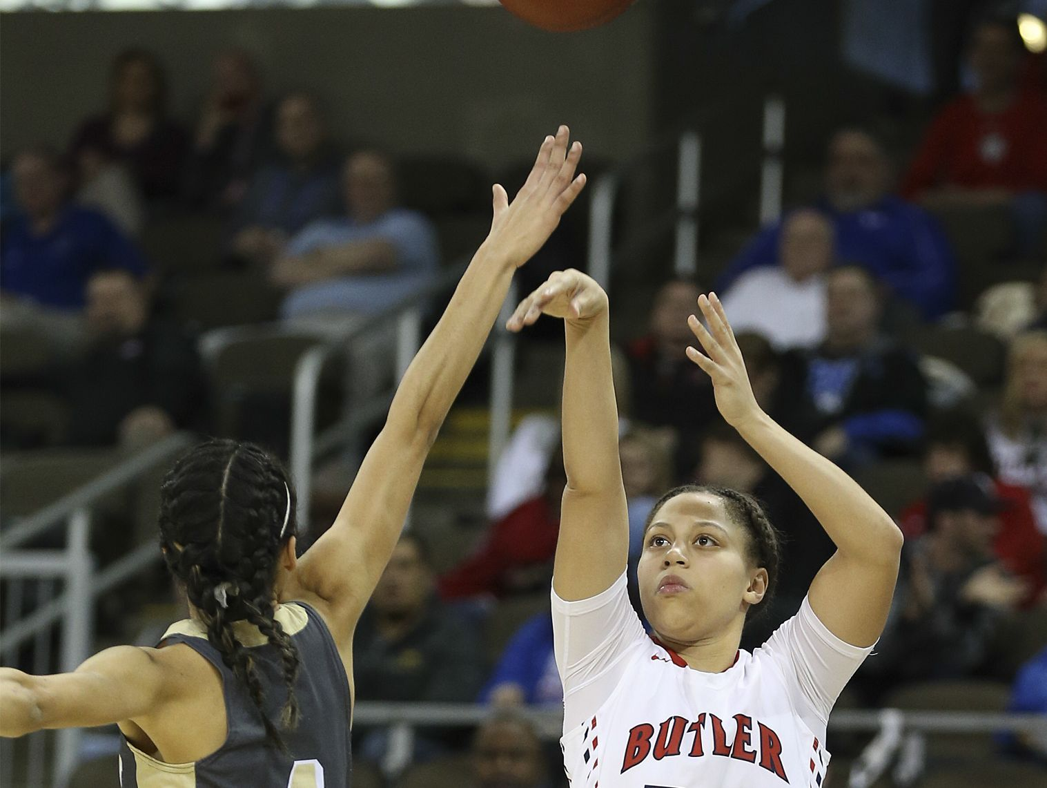 Butler's Teri Goodlett shoots late in the second half. March 10, 2017