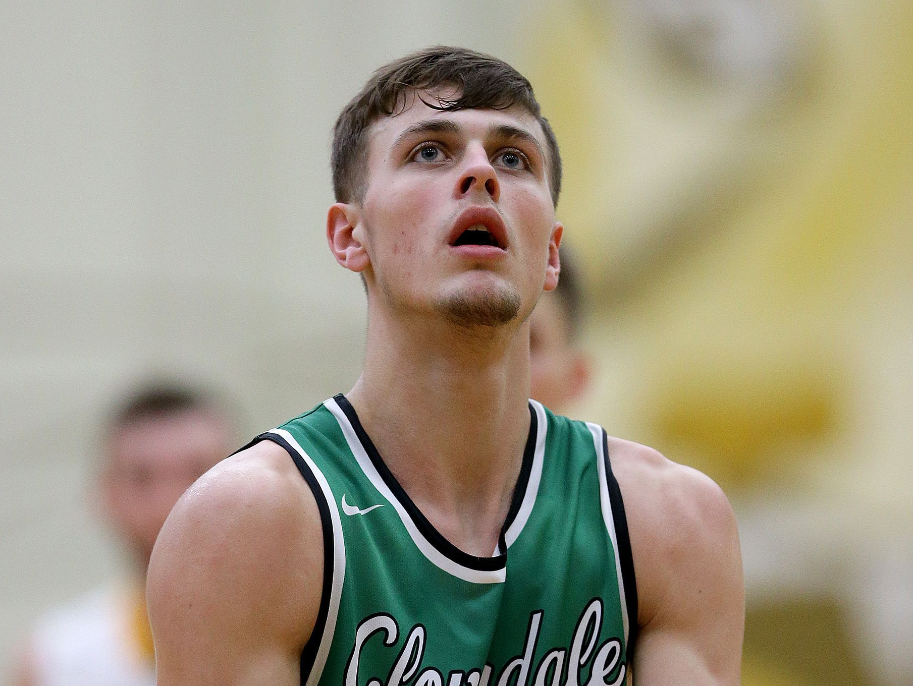 Cloverdale Clovers Cooper Neese (11) shoots a free-throw in the second half of their IHSAA Boys Regional basketball game, Saturday, March 11, 2017, morning at Greenfield-Central High School in Greenfield IN.