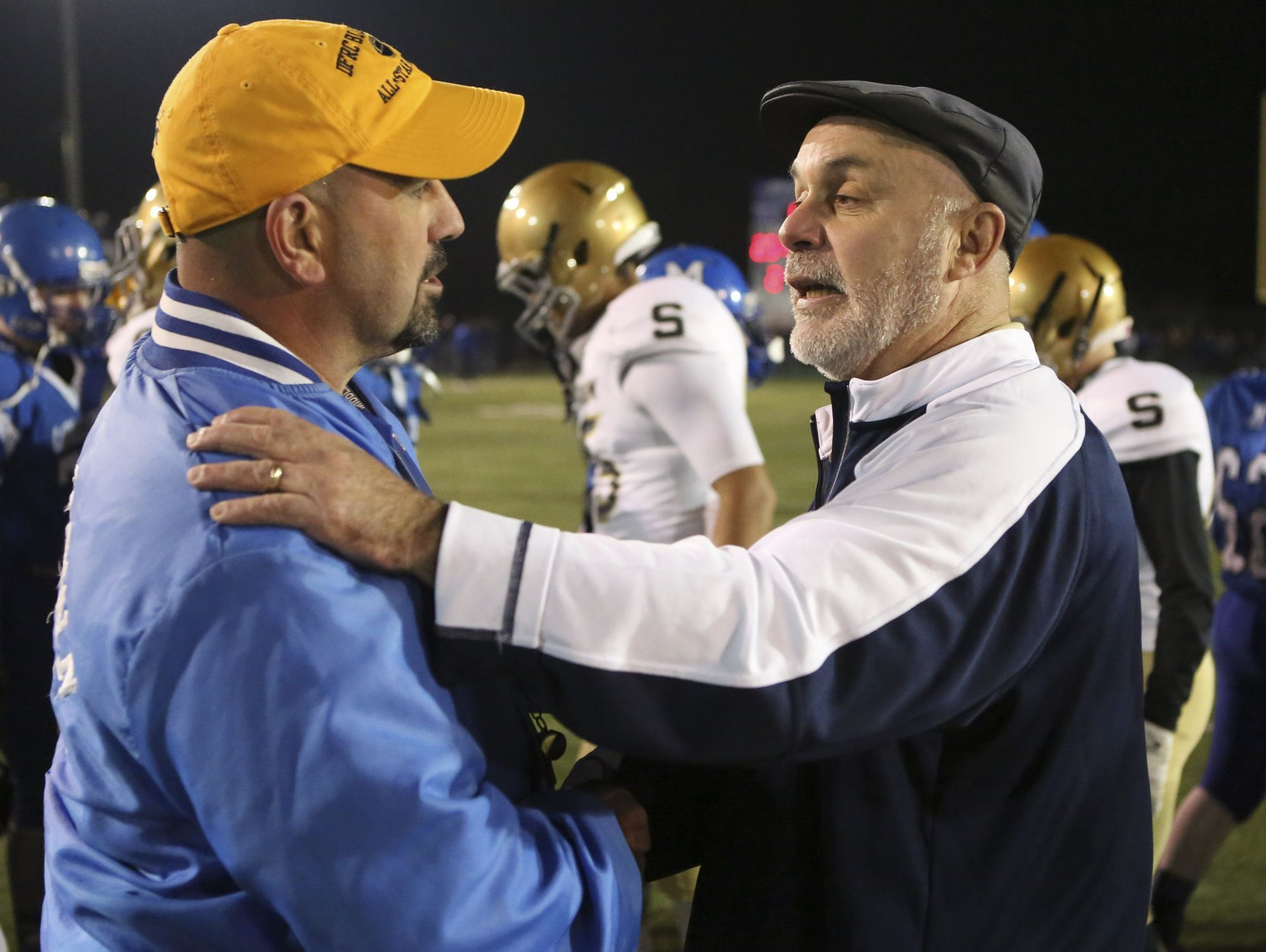Salesianum coach Bill DiNardo (right) confirmed Wednesday that Middletown coach Mark DelPercio (left) plans to leave the Cavaliers to coach high school football in Texas.