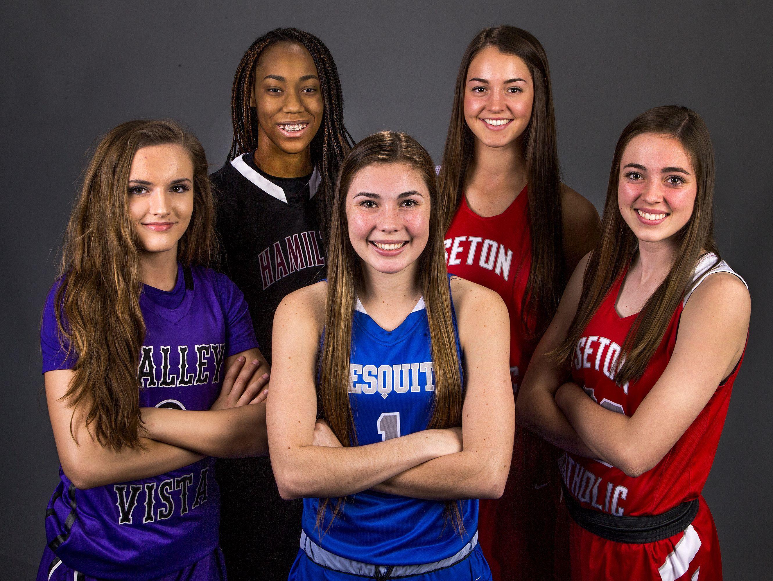 The 2016-17 All-Arizona Girls Basketball Team, from left to right; Taylor Chavez, Valley Vista, Maya Banks, Hamilton, Shaylee Gonzales, Mesquite, Jenn Wirth, Seton Catholic, and Sarah Barcello, Seton Catholic.