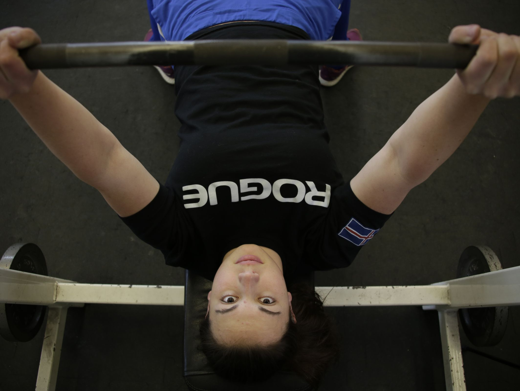 16-year-old Molly Likins of St. Clair is photographed her at St. Clair High School Tuesday Mar. 14, 2017. She just set the state powerlifting bench press record of the 181 pound division by bench pressing 190 pounds.