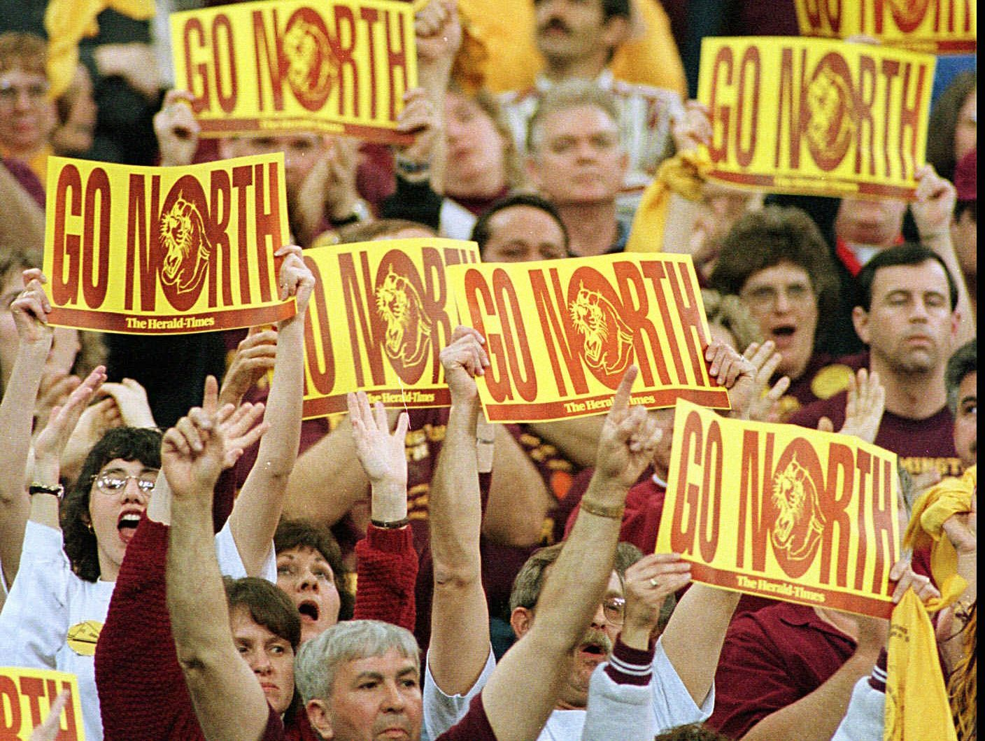 Bloomington North fans show support for their team prior to their team beating Delta for the state championship Saturday night at the RCA Dome.