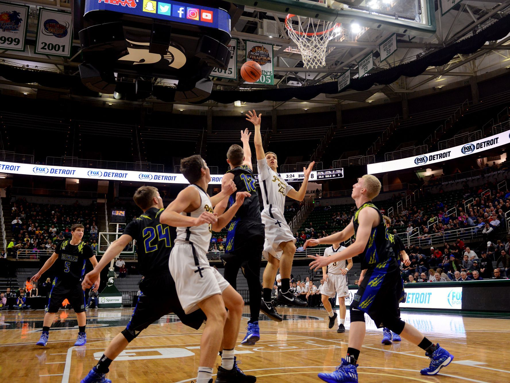 Lansing Christian's Andrew Prieskorn goes up for a shot during the Class D state semifinals against Buckley on Thursday, March 23, 2017 at the Breslin Center in East Lansing. Buckley won, 68-61.