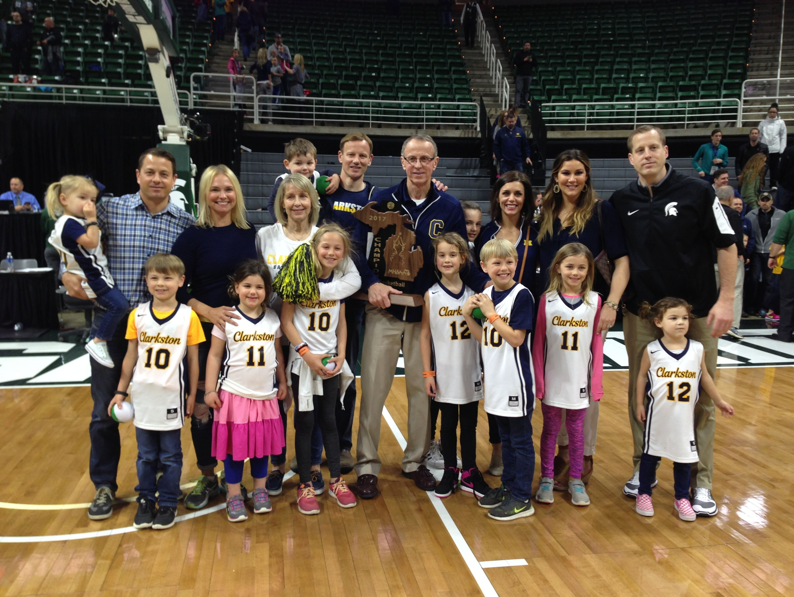 Coach Dan Fife and family had reason to celebrate Saturday after Clarkston won the Class A basketball state championship in East Lansing.