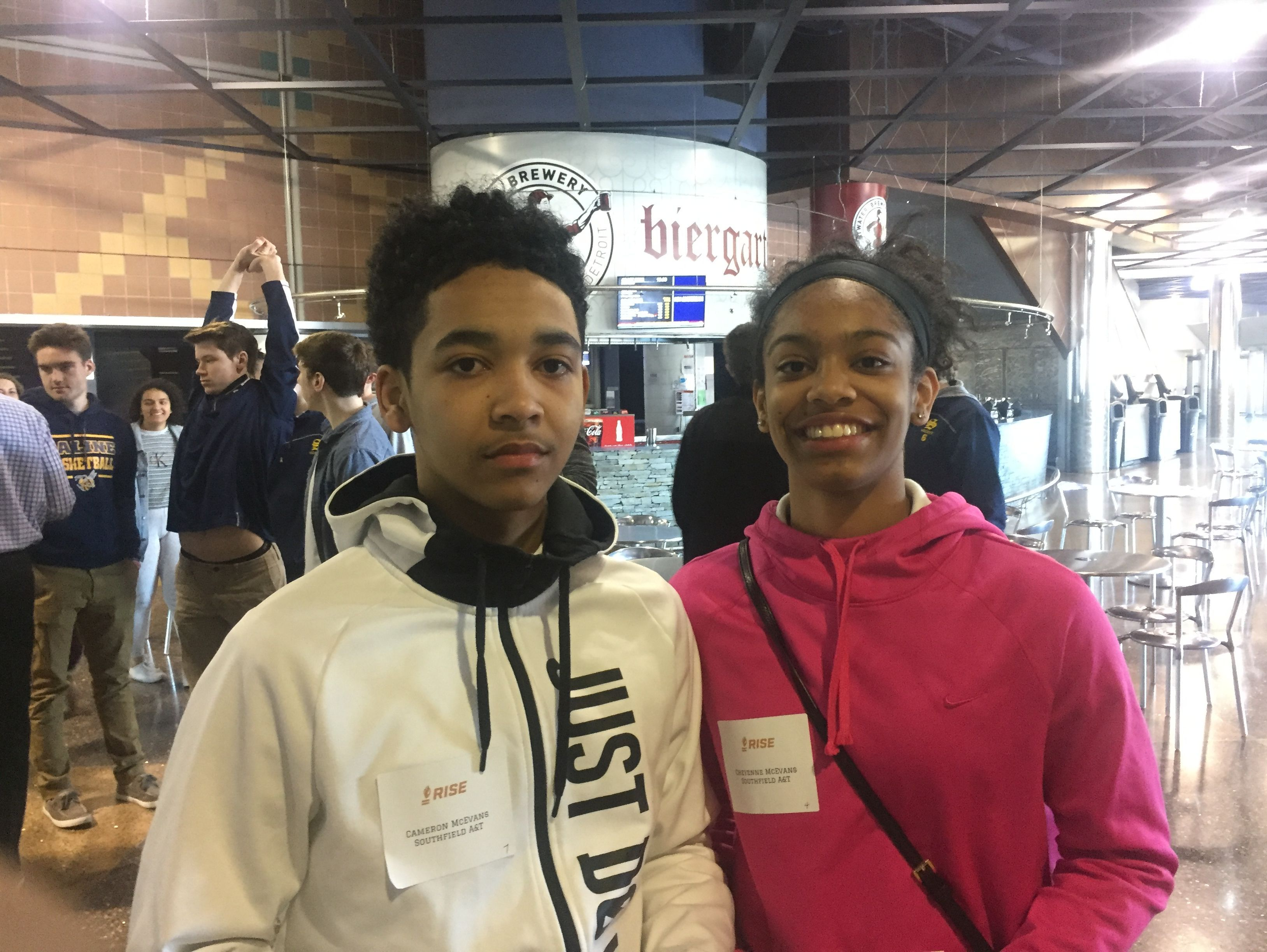 Cameron and Cheyenne McEvans, students at Southfield A&T High School, participated in the Ross Initiative in Sports for Equality