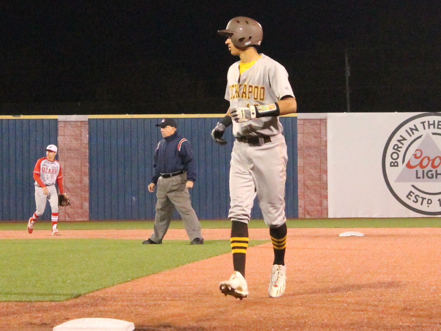 Kickapoo senior shortstop Robbie Merced jogs back to first base during a game against Ozark Tuesday, March 28, 2017 at U.S. Baseball Park in Ozark.