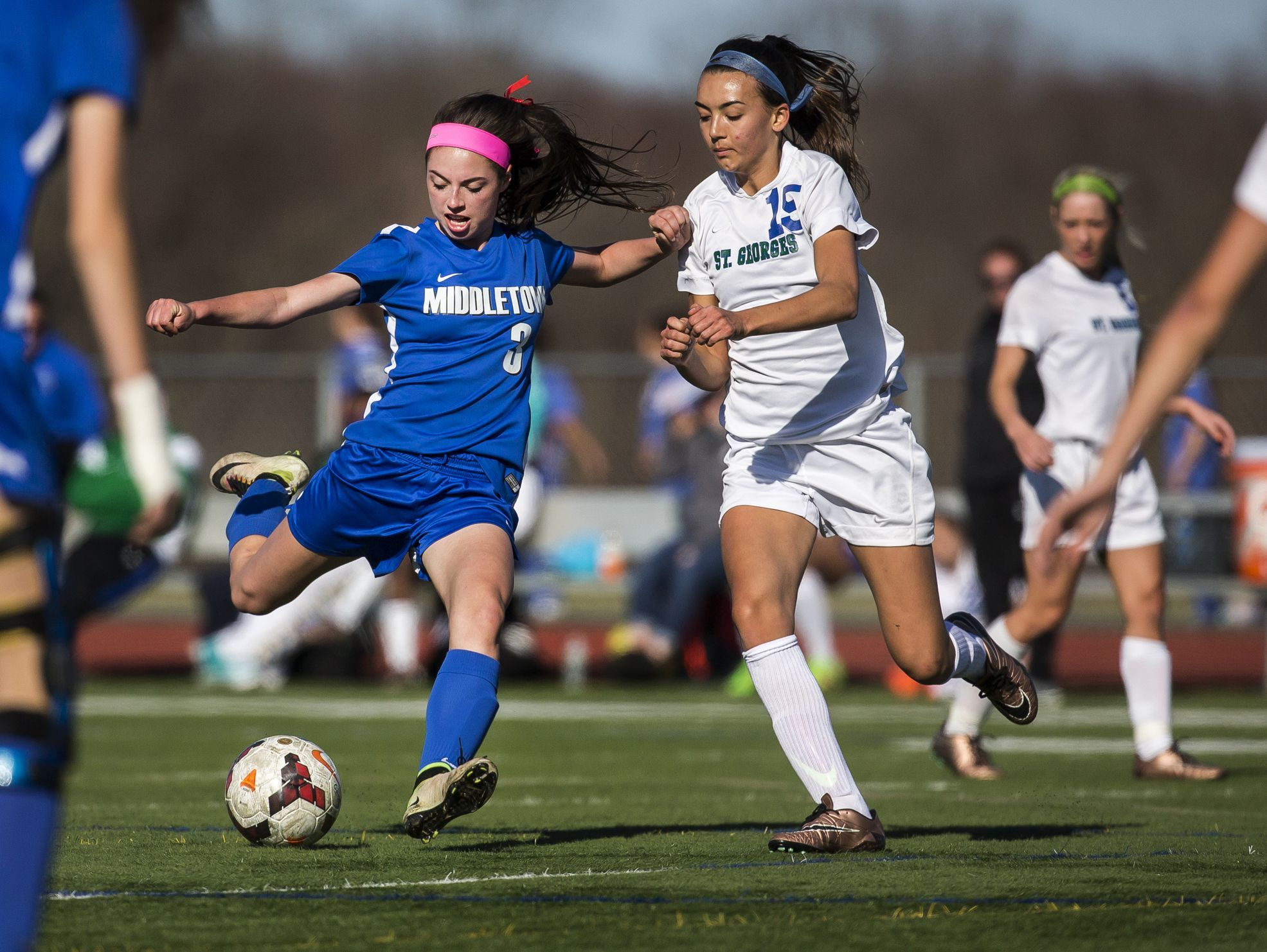 Middletown's Rachel Finelli (No. 3) puts a shoots and scores a goal past the defense of St. Georges' Hailee Steward (No. 15) in the second half of Middletown's 4-0 win over St. Georges at St. Georges Technical High School in Middletown on Wednesday afternoon.