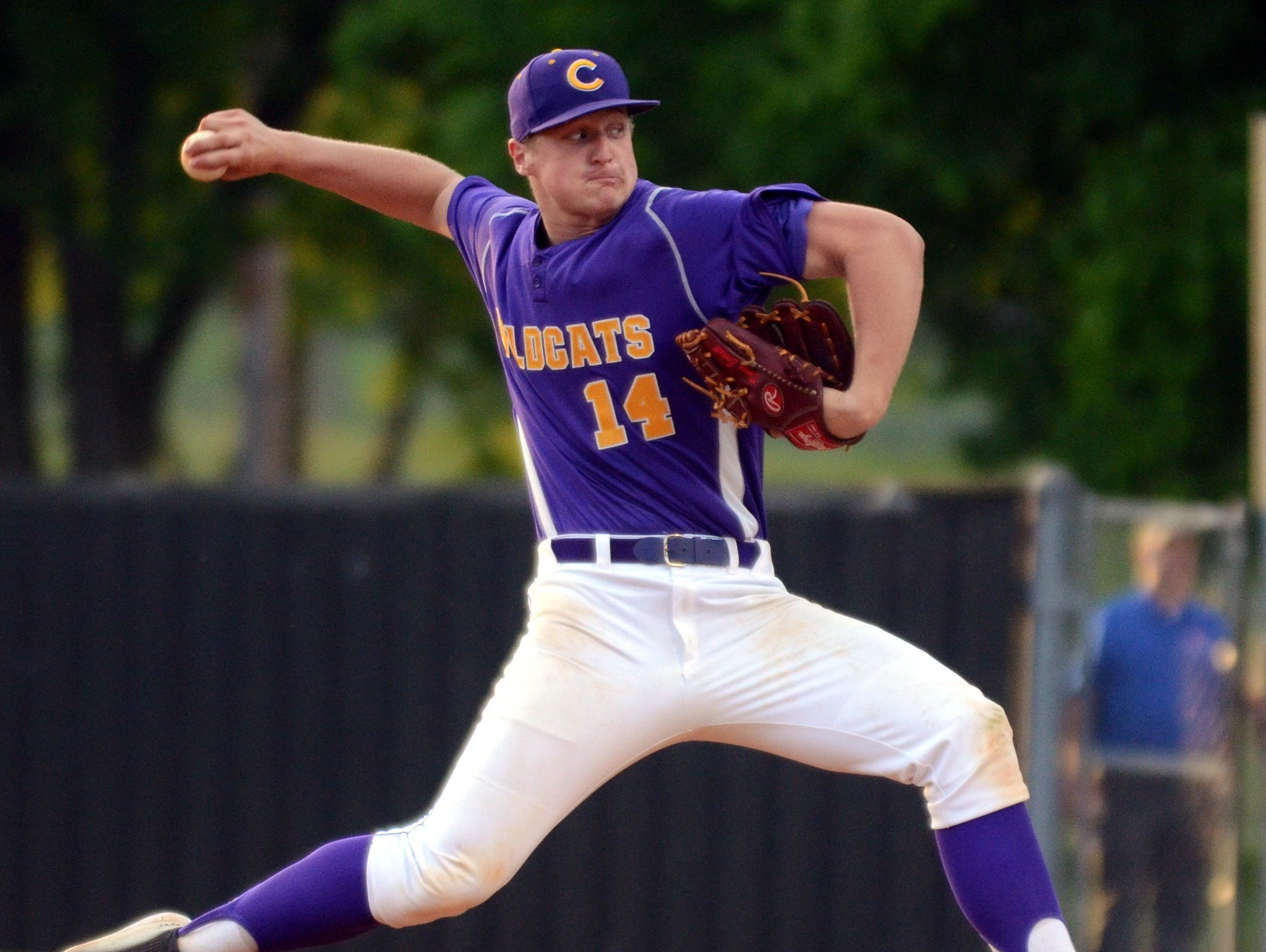 Clarksville High Donny Everett winds up to throw a pitch at home plate during a game earlier this season. Everett was named the Gatorade Baseball Player of the Year in Tennessee.