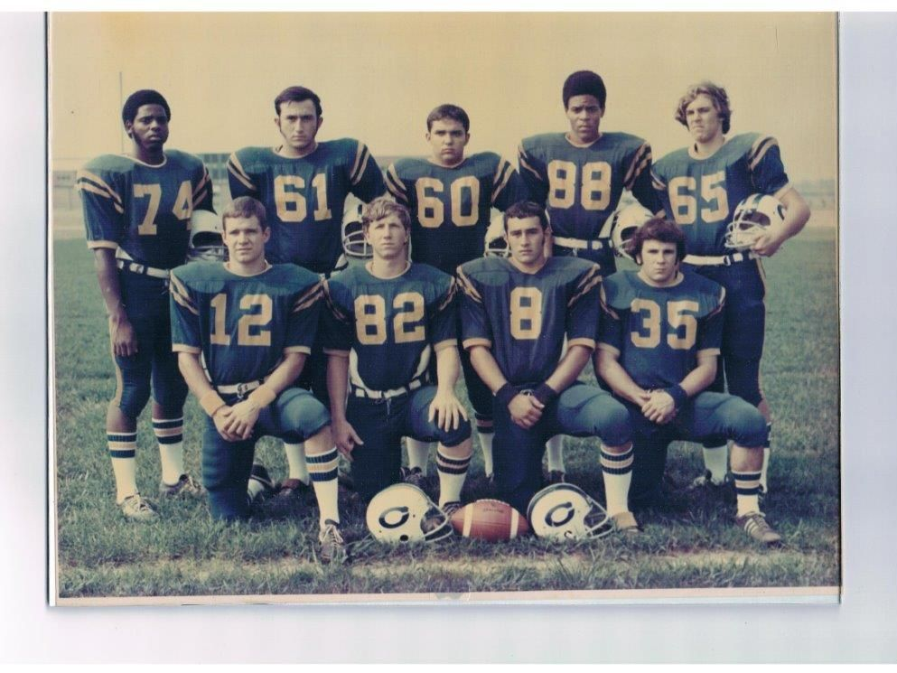 This group of top performers on the 1974 Carencro High Bears held the current program's best record of 4-5-1 until the 1986 team broke through with a winning season. They are, from left: (standing) Alfred Senegal, Bryan Benoit, Joe Guidry, Harry Livings, Steve Drouant; (kneeling) Matt Murray, Karl Schexnayder, Tony Arnaud and Keith Weber.