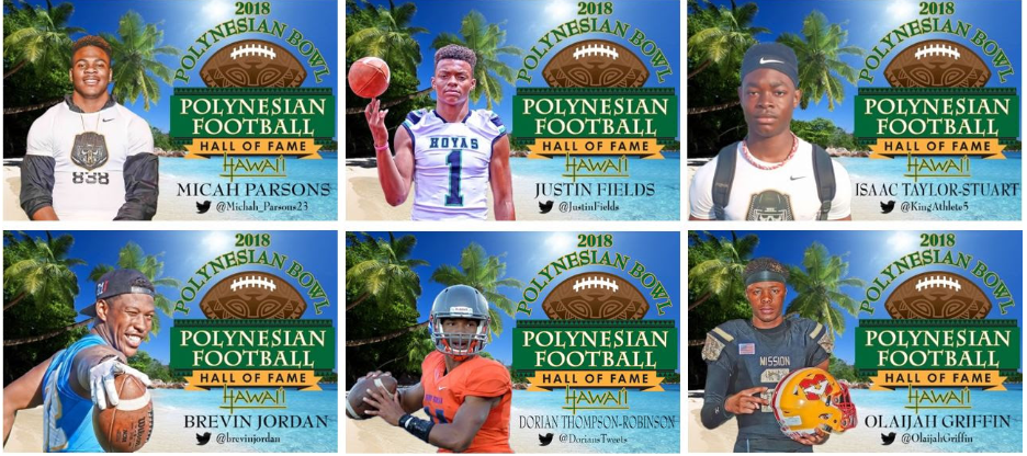 Several of the 18 players who accepted invitations to the 2018 Polynesian Bowl. (Photo: Polynesian Football Hall of Fame)