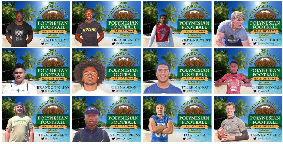 Several of the athletes to accept invitations to the 2018 Polynesian Bowl. (Photo: Polynesian Football Hall of Fame)